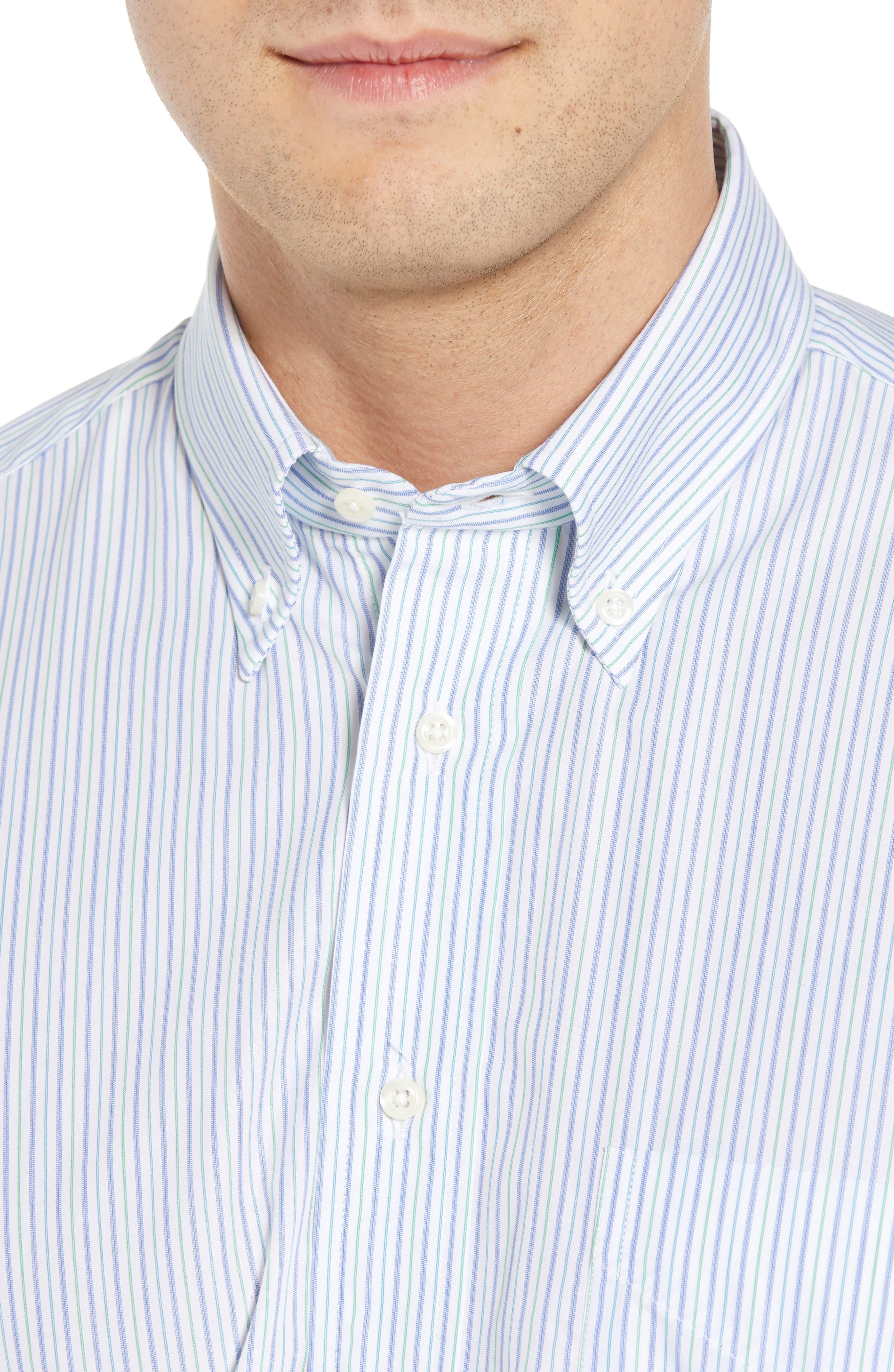 Tailored Fit Stripe Dress Shirt,                             Alternate thumbnail 2, color,                             GREEN