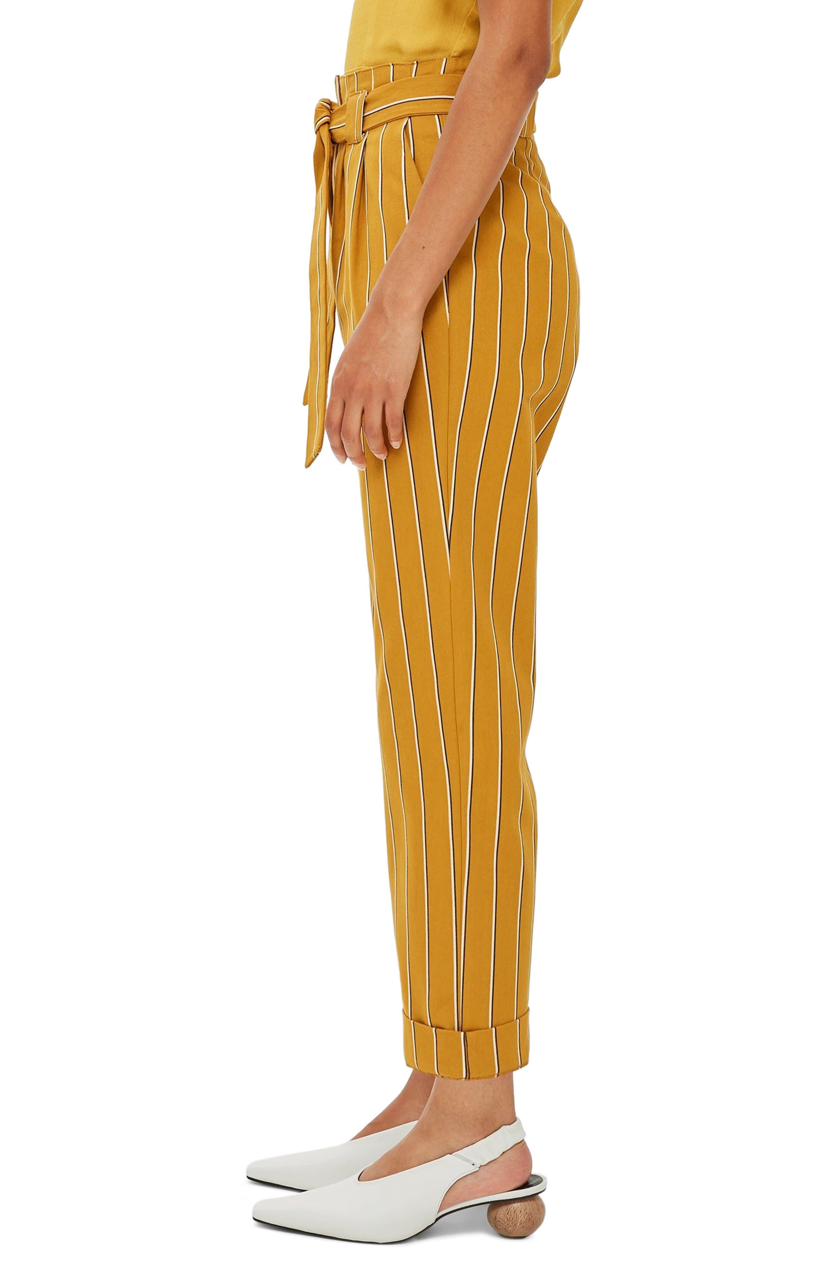 Polly Stripe Peg Trousers,                             Alternate thumbnail 3, color,                             MUSTARD MULTI