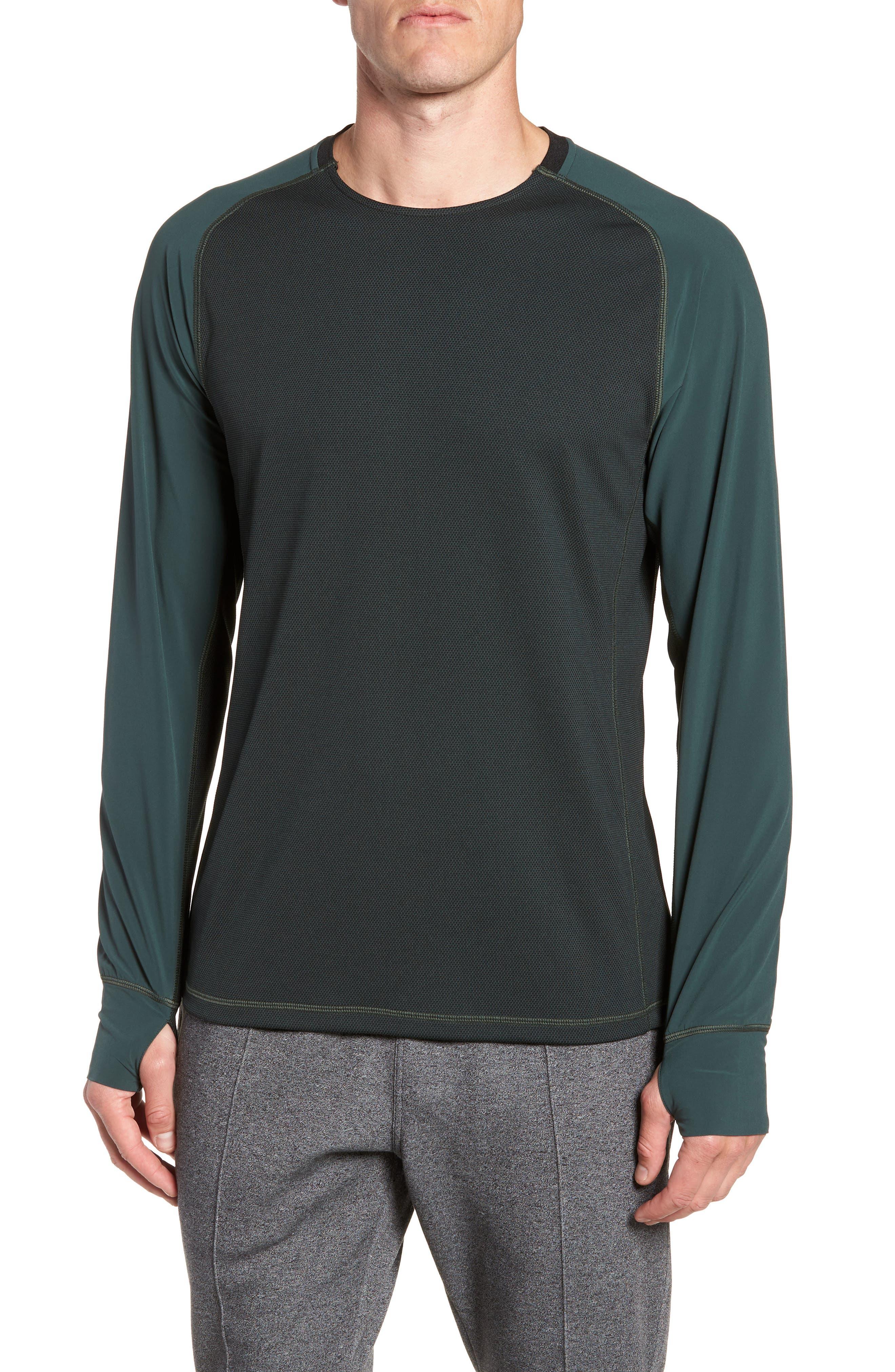 Mixed Media Crewneck Pullover,                         Main,                         color, GREEN ODINITE