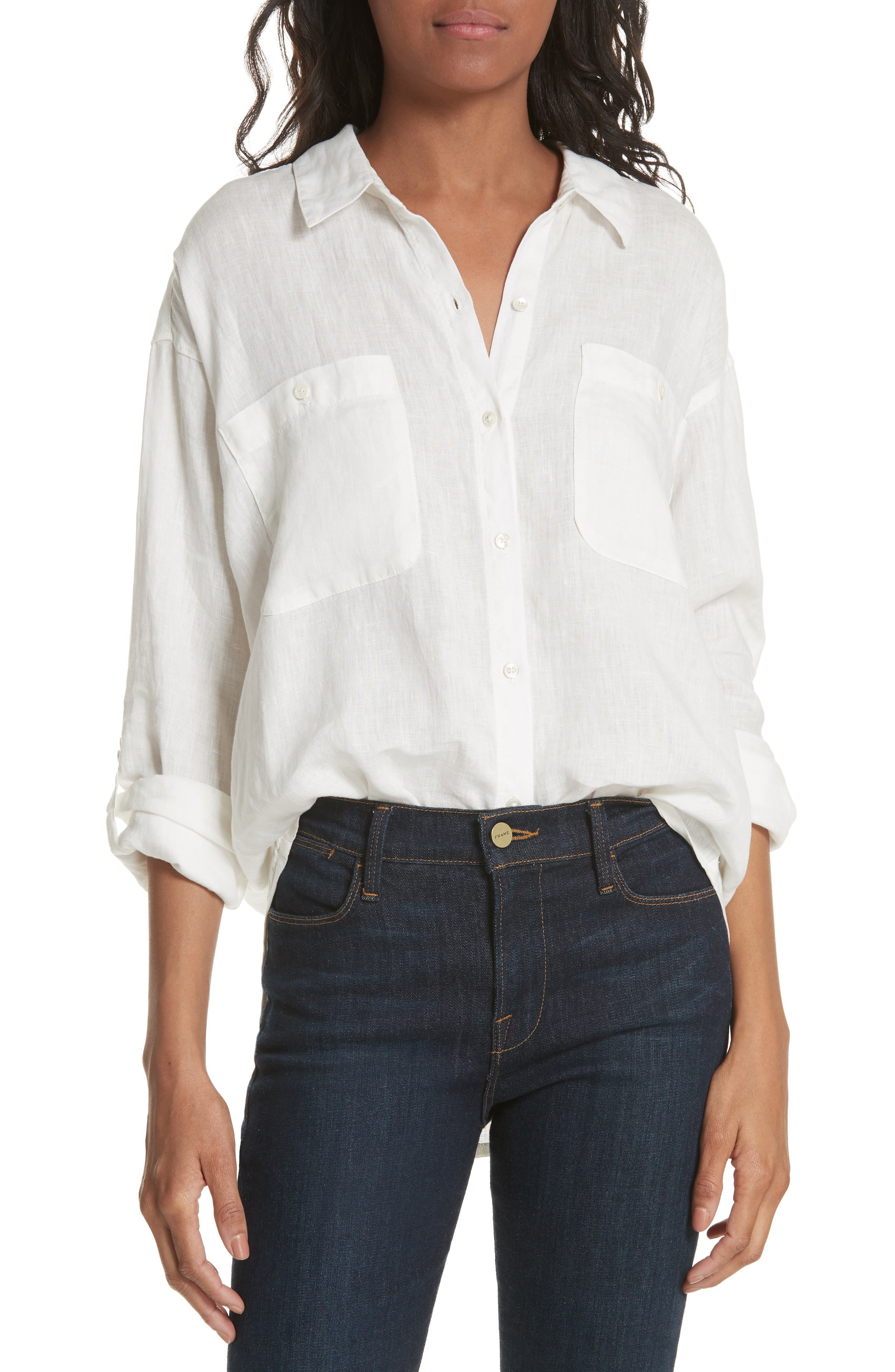 Lidelle Button Tab Linen Blouse,                         Main,                         color, 120