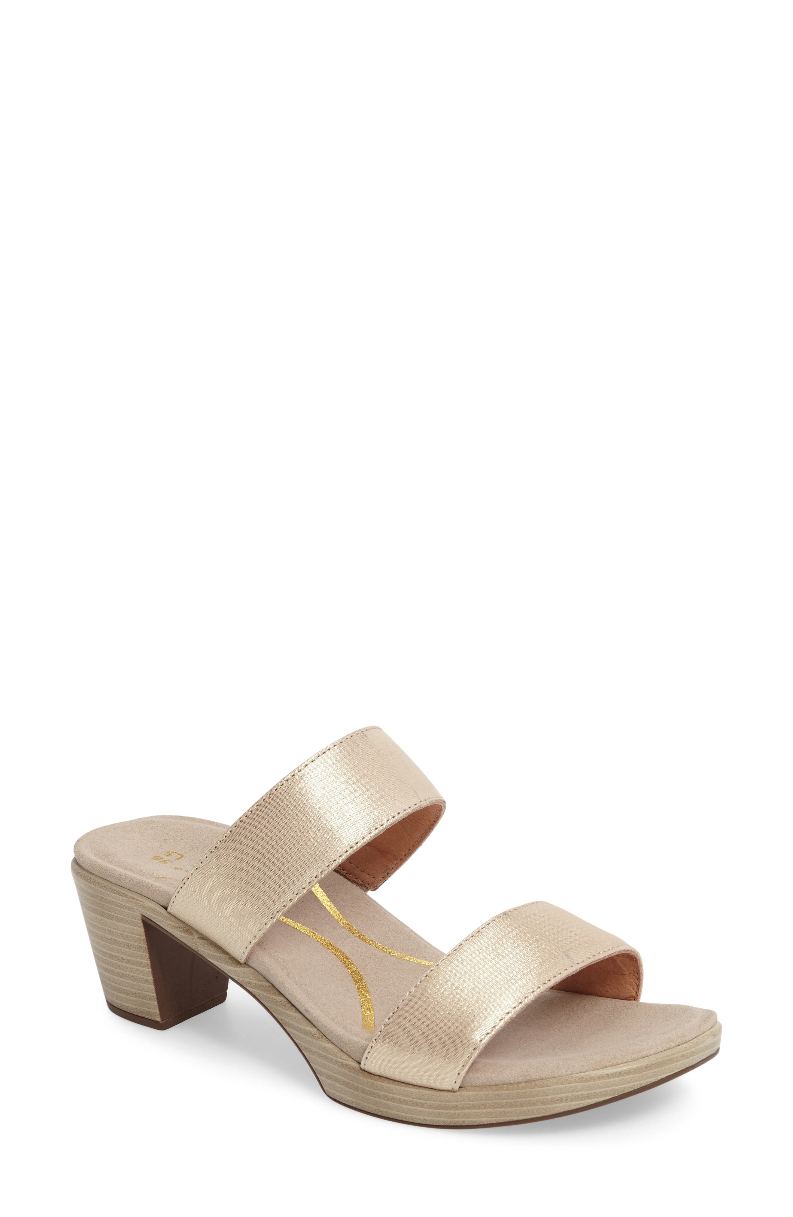 Fate Platform Sandal,                         Main,                         color, GOLD THREADS LEATHER