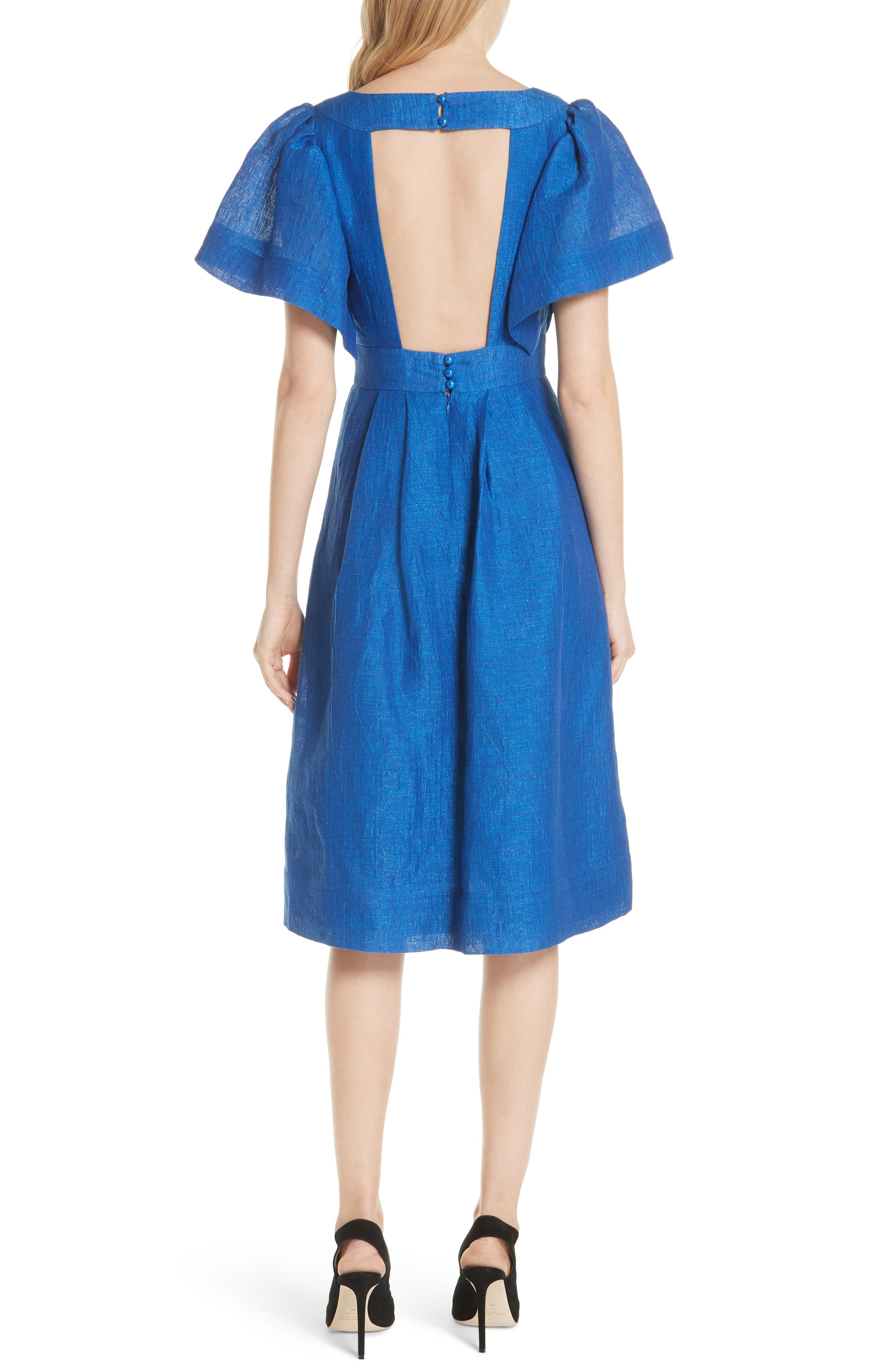 Open Sleeve Backless Linen Blend Dress,                             Alternate thumbnail 2, color,