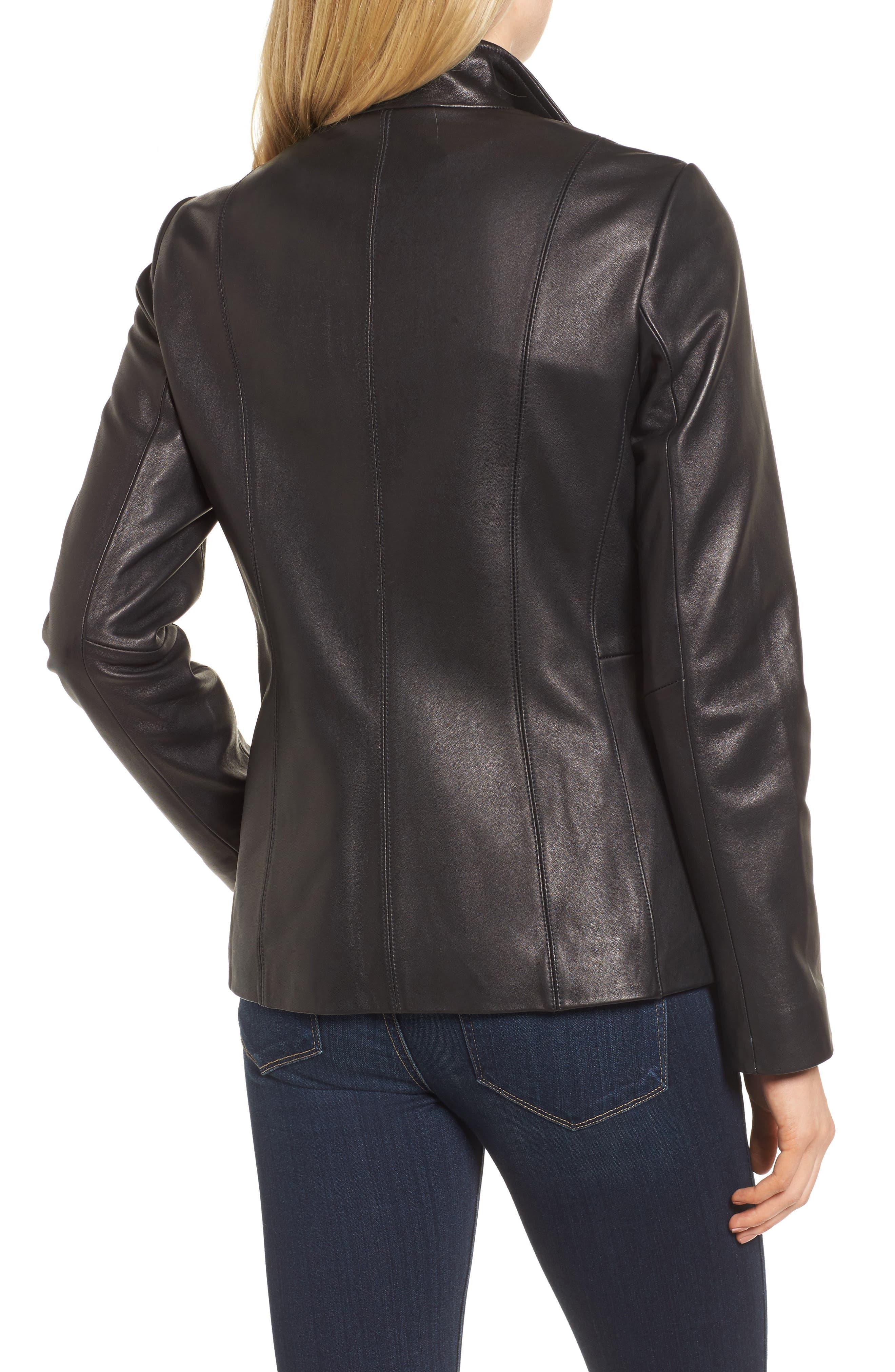 Leather Jacket,                             Alternate thumbnail 3, color,