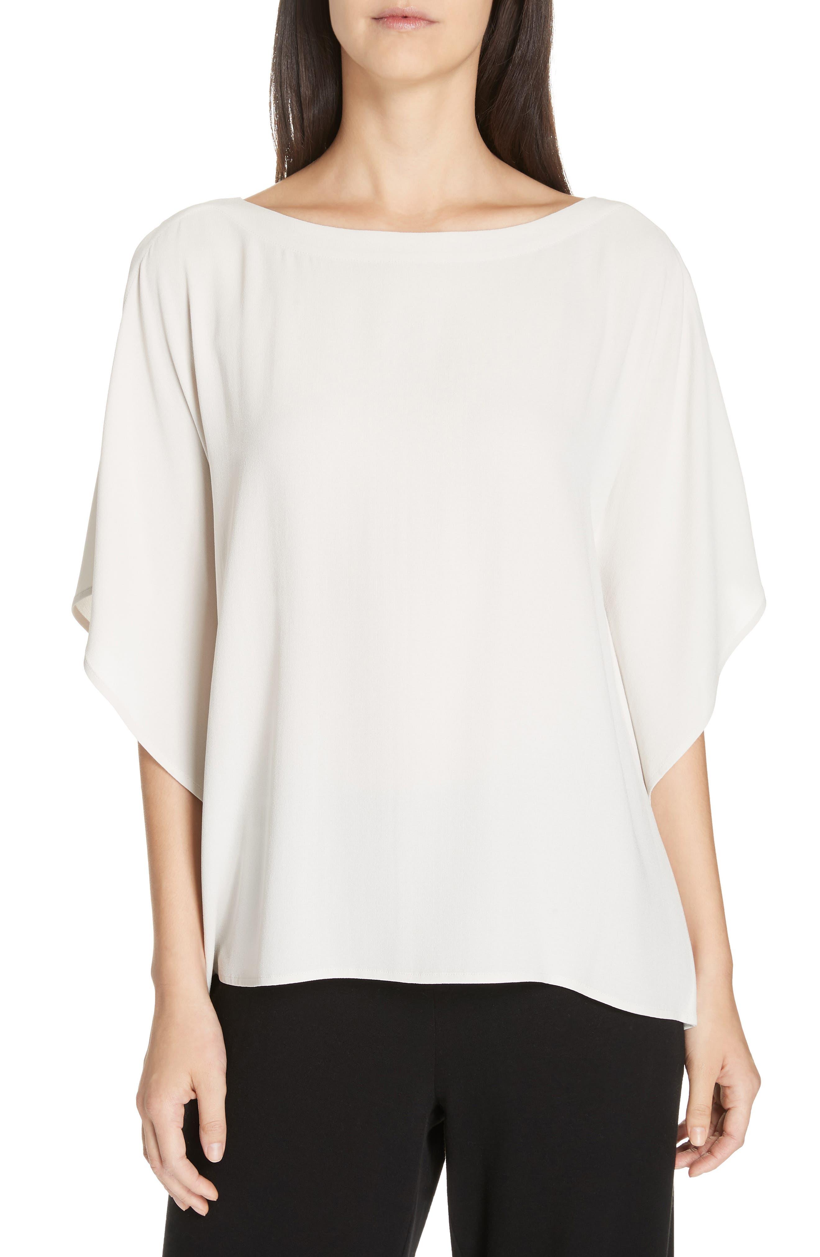Open-Sleeve Silk Crepe Blouse, Plus Size in Bone