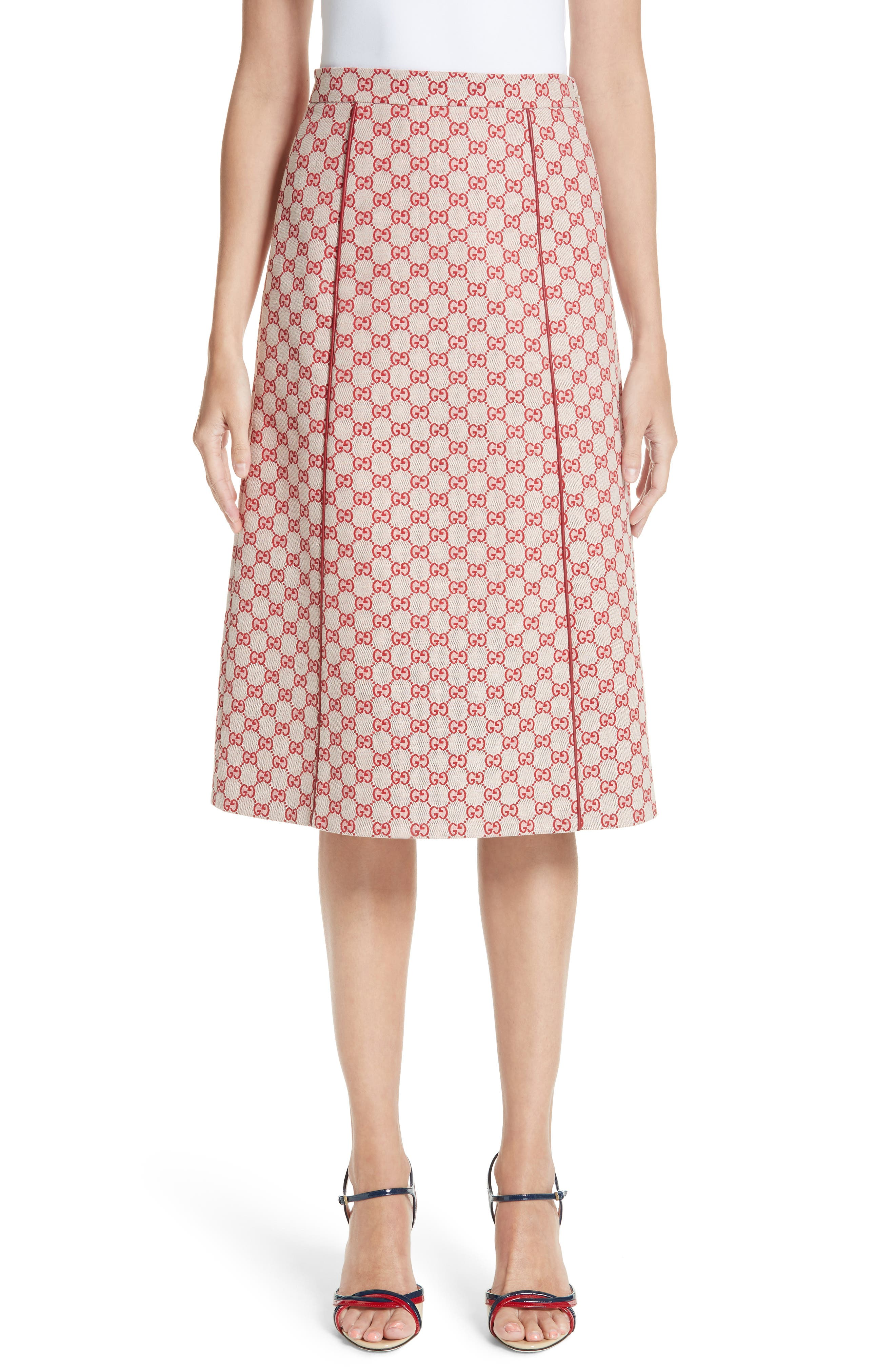 GG Print Canvas A-Line Skirt,                             Main thumbnail 1, color,                             GARDENIA/ HIBISCUS RED