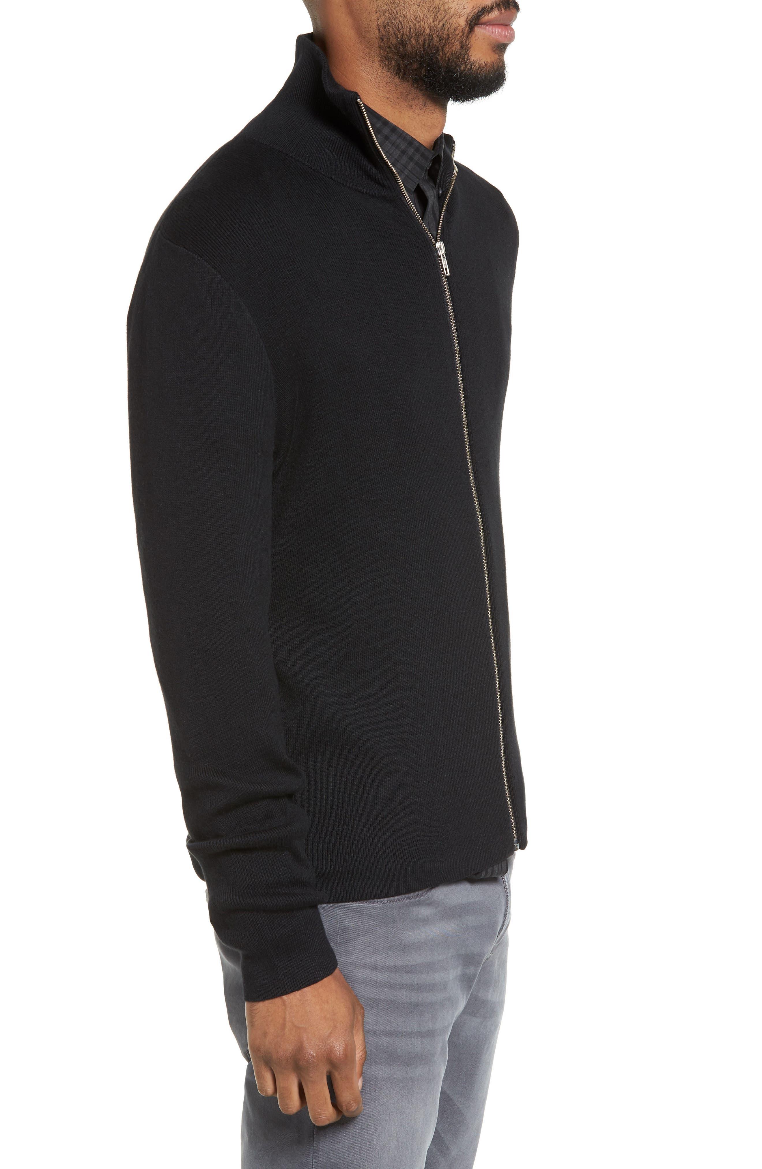 Zip Front Sweater Jacket,                             Alternate thumbnail 3, color,                             BLACK
