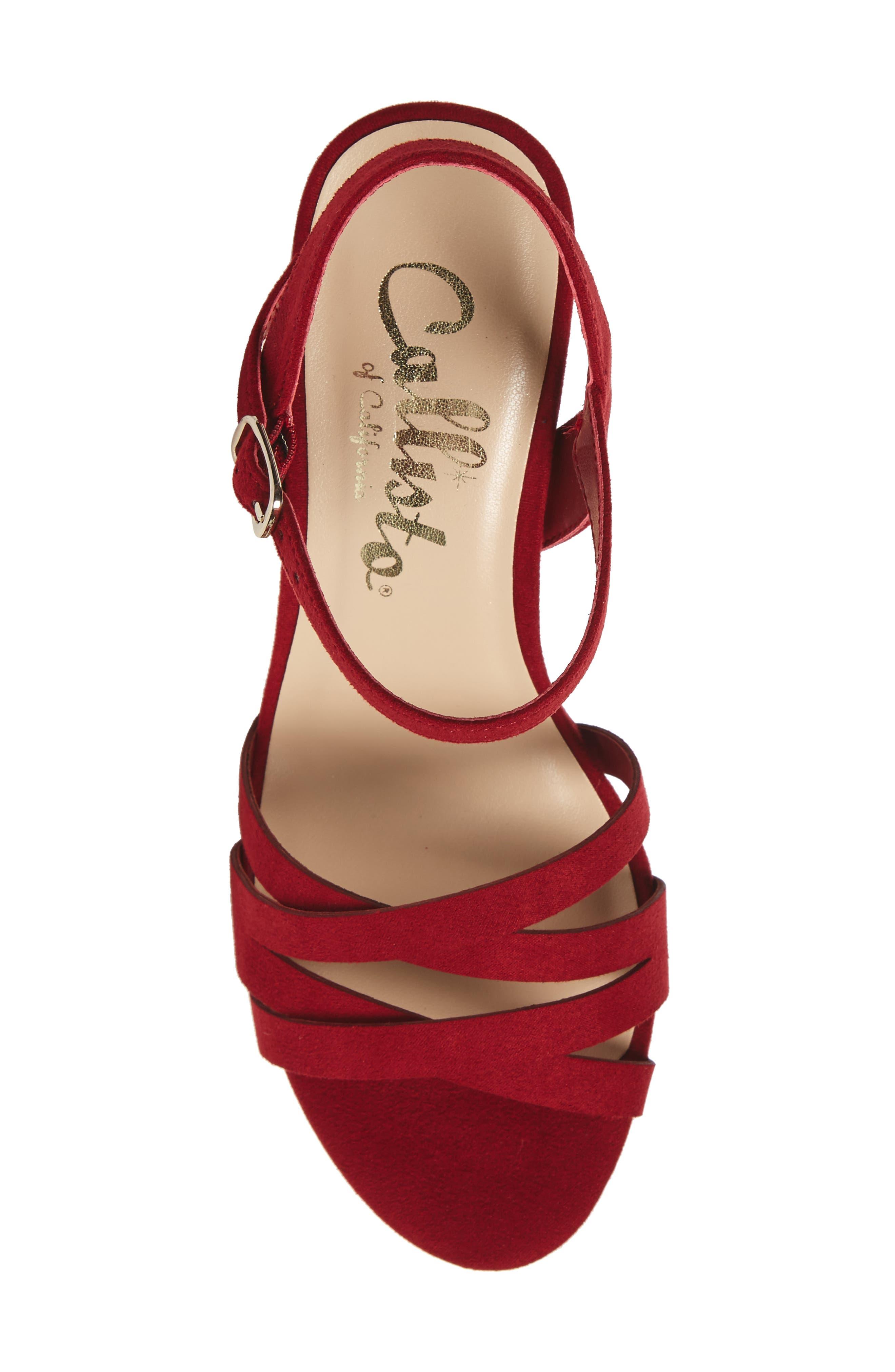 Paxx Platform Sandal,                             Alternate thumbnail 5, color,                             RED FAUX SUEDE