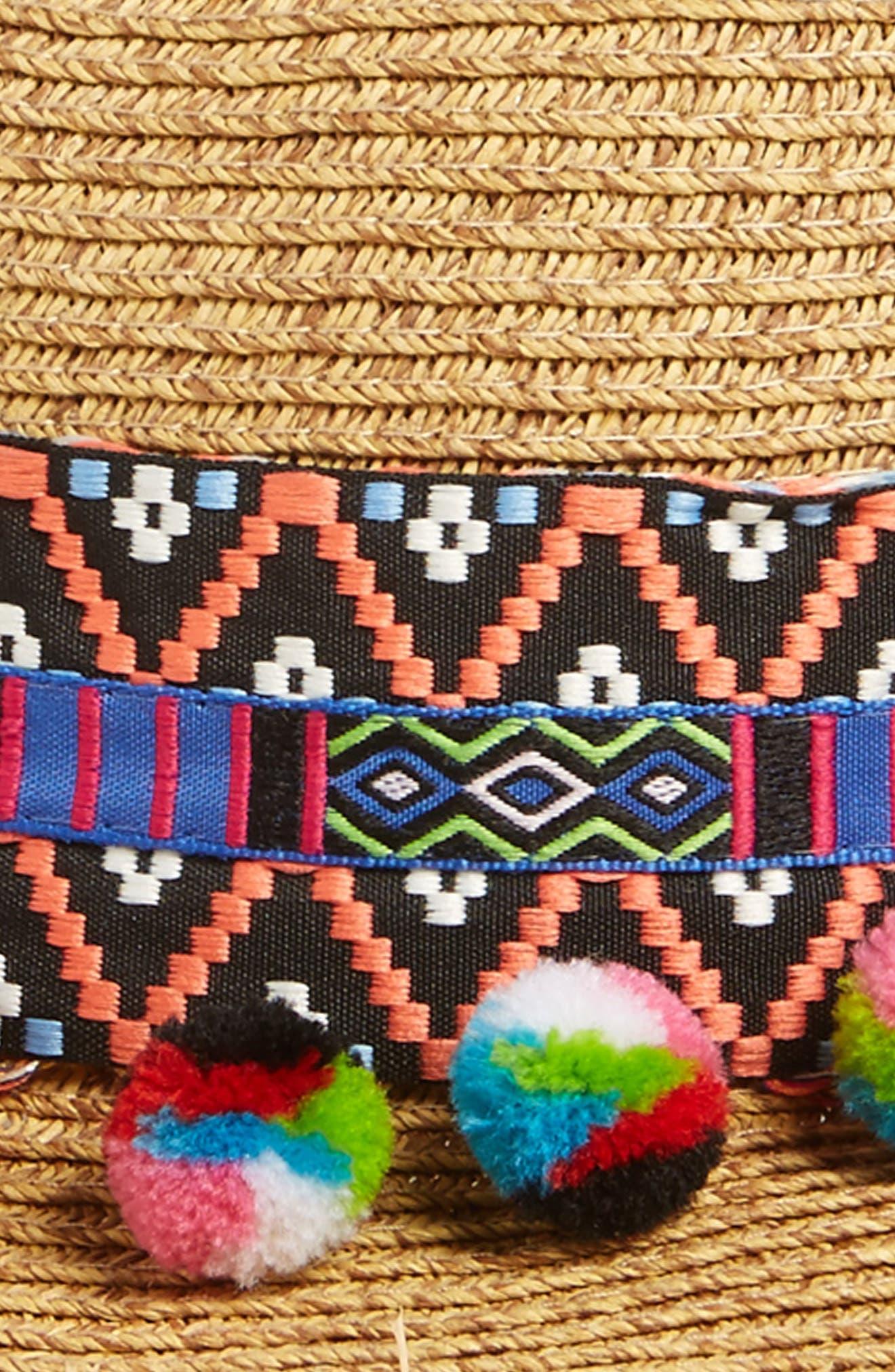 Multicolor Pom Straw Fedora,                             Alternate thumbnail 2, color,
