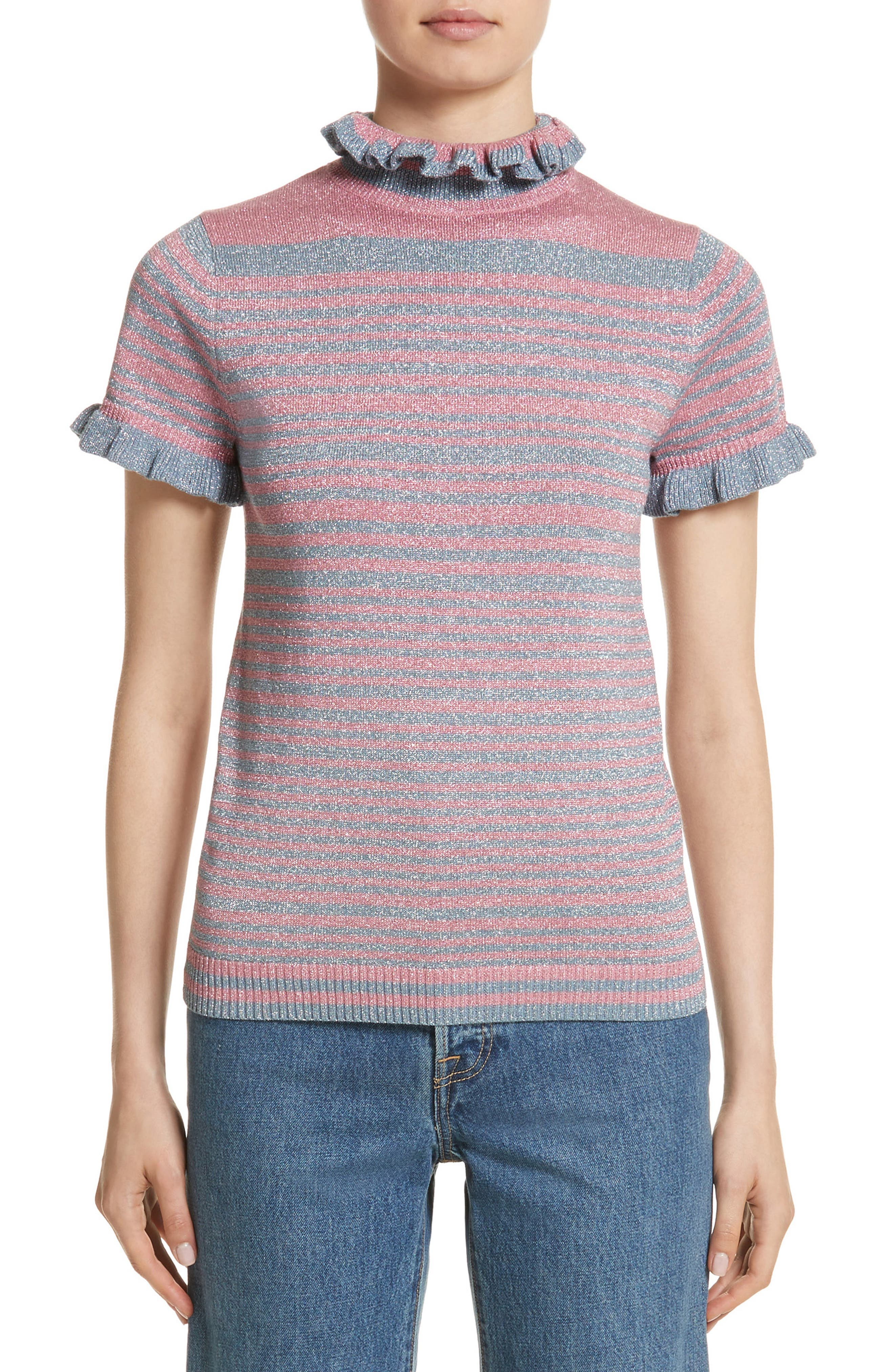 Joan Metallic Stripe Short Sleeve Sweater,                             Main thumbnail 1, color,                             400