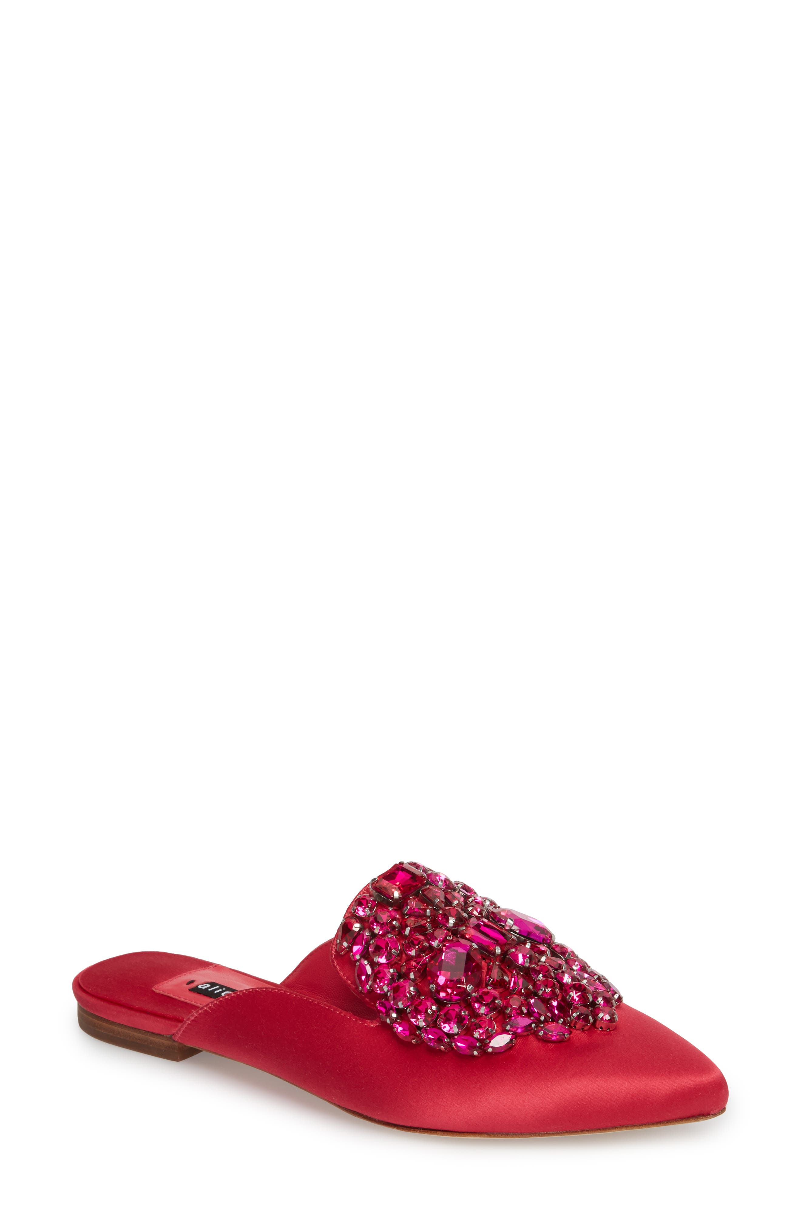 Lilly Crystal Embellished Loafer Mule,                             Main thumbnail 1, color,