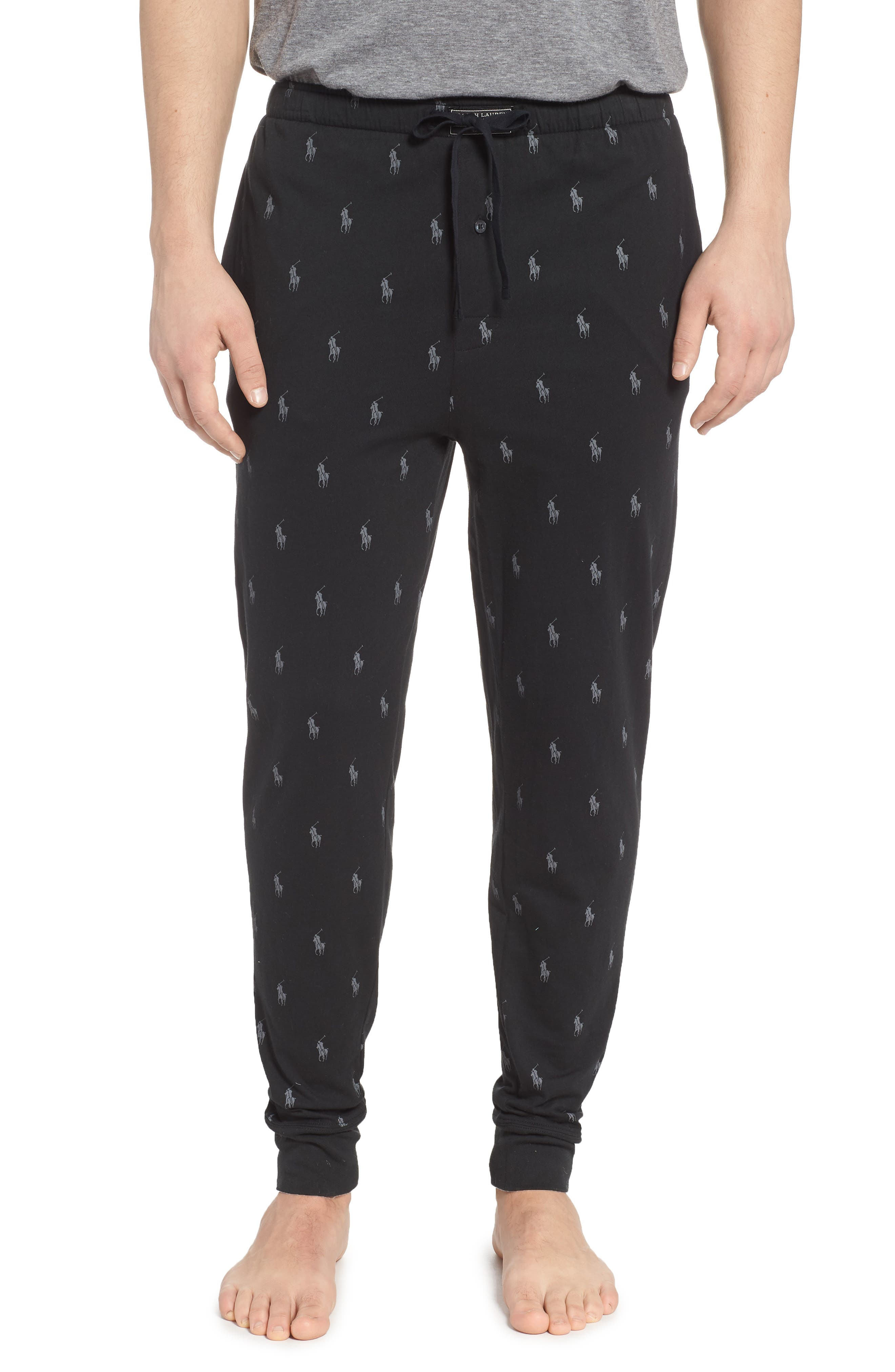 Pony Print Pajama Pants,                             Main thumbnail 1, color,                             POLO BLACK