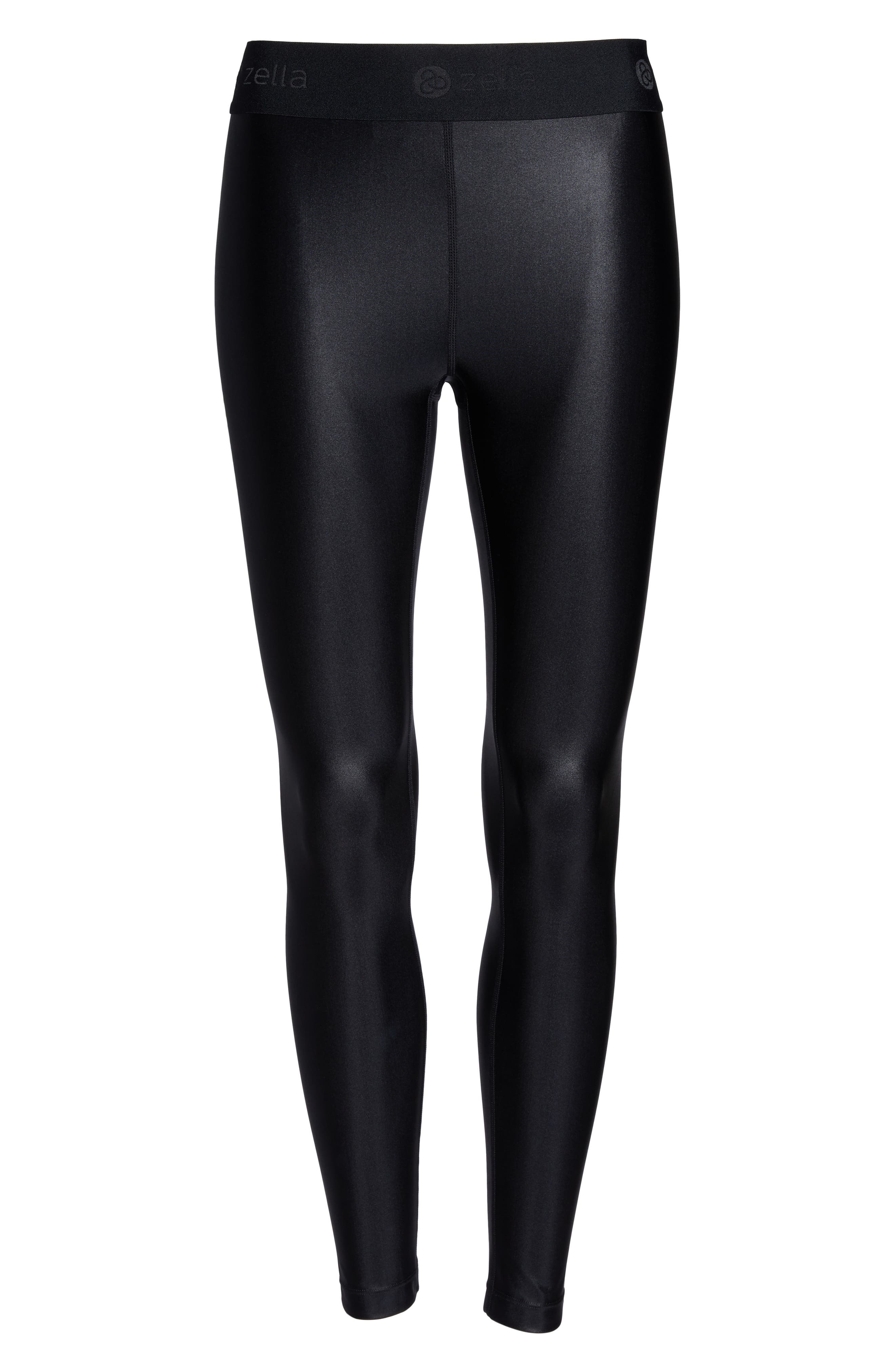 Anya Shine High Waist Ankle Leggings,                             Alternate thumbnail 7, color,                             BLACK