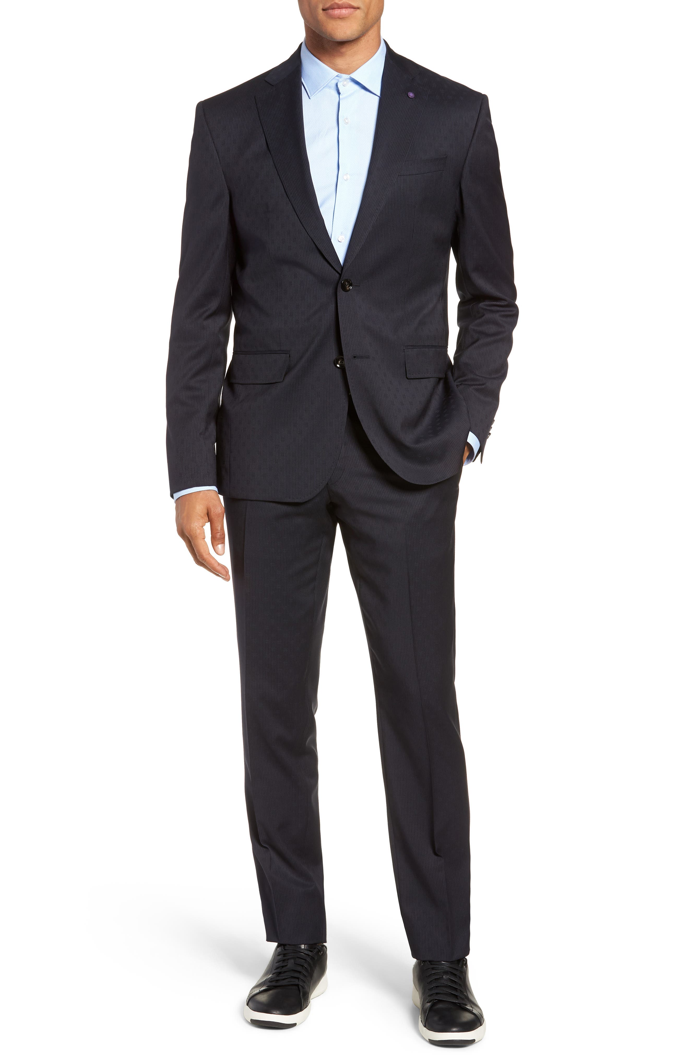 Roger Extra Trim Fit Stripe Wool Suit,                             Main thumbnail 1, color,                             NAVY STRIPE