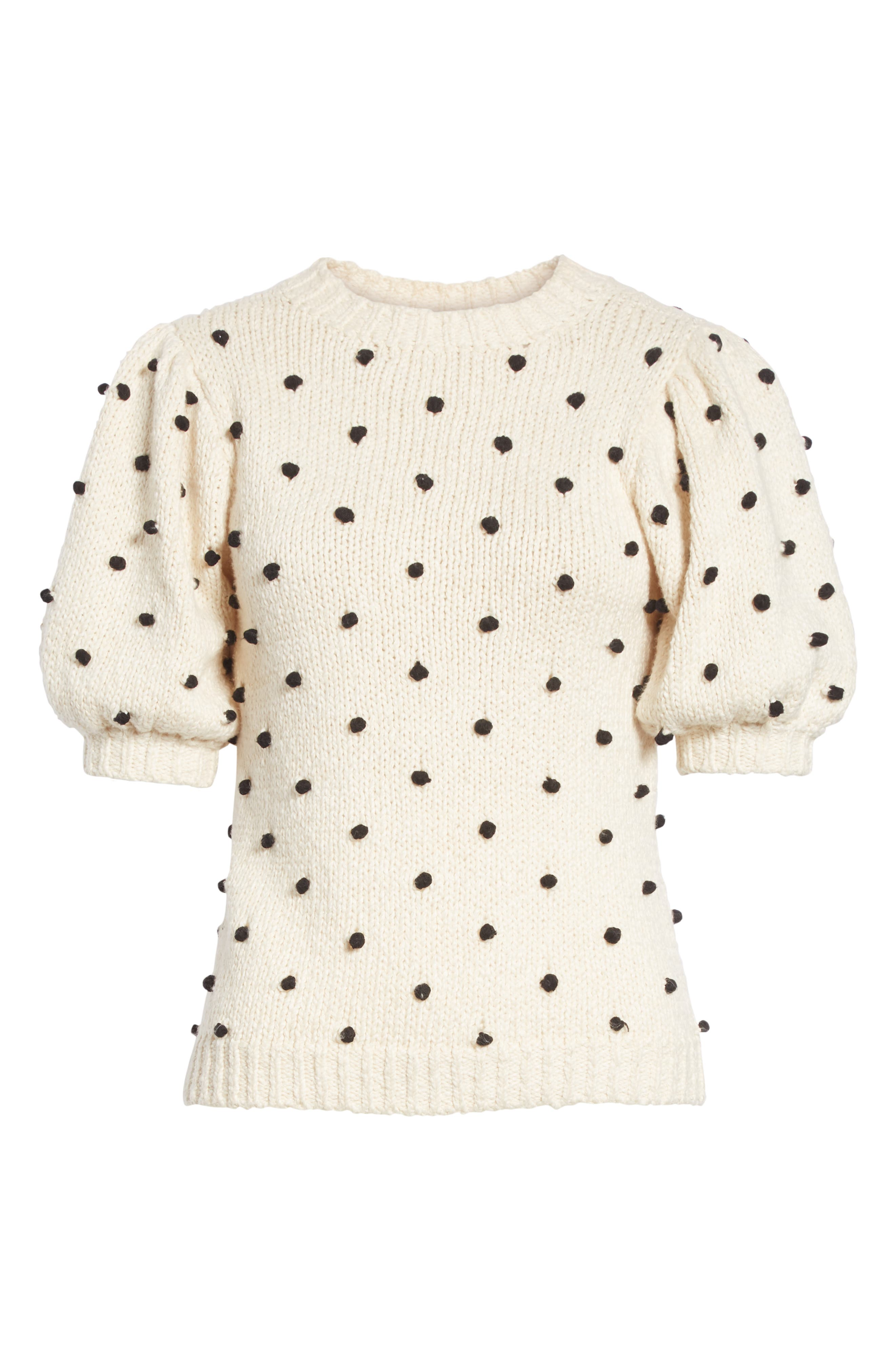 Bettine Puff Sleeve Polka Dot Sweater,                             Alternate thumbnail 6, color,