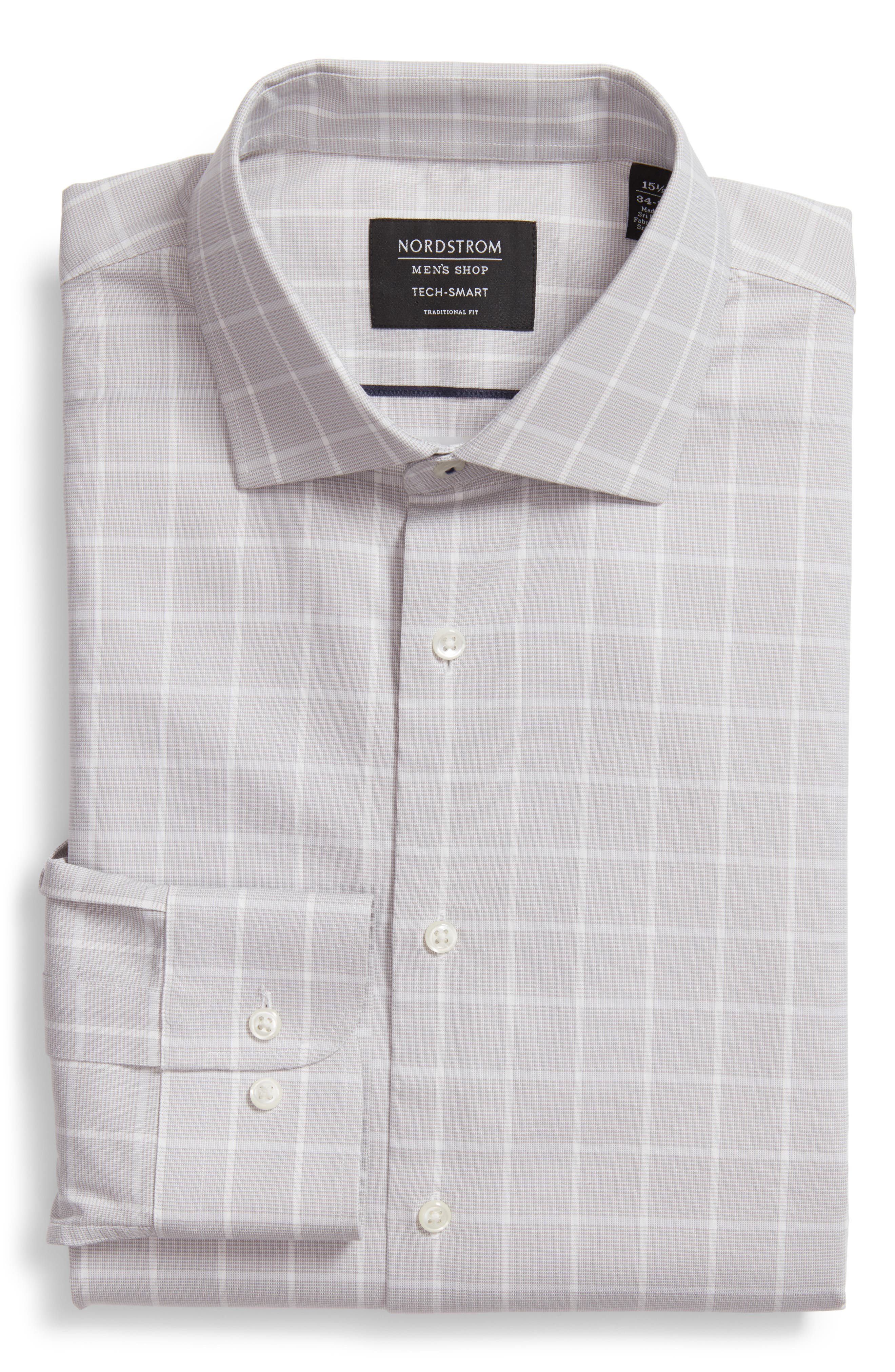 Tech-Smart Traditional Fit Stretch Windowpane Dress Shirt,                         Main,                         color, 050