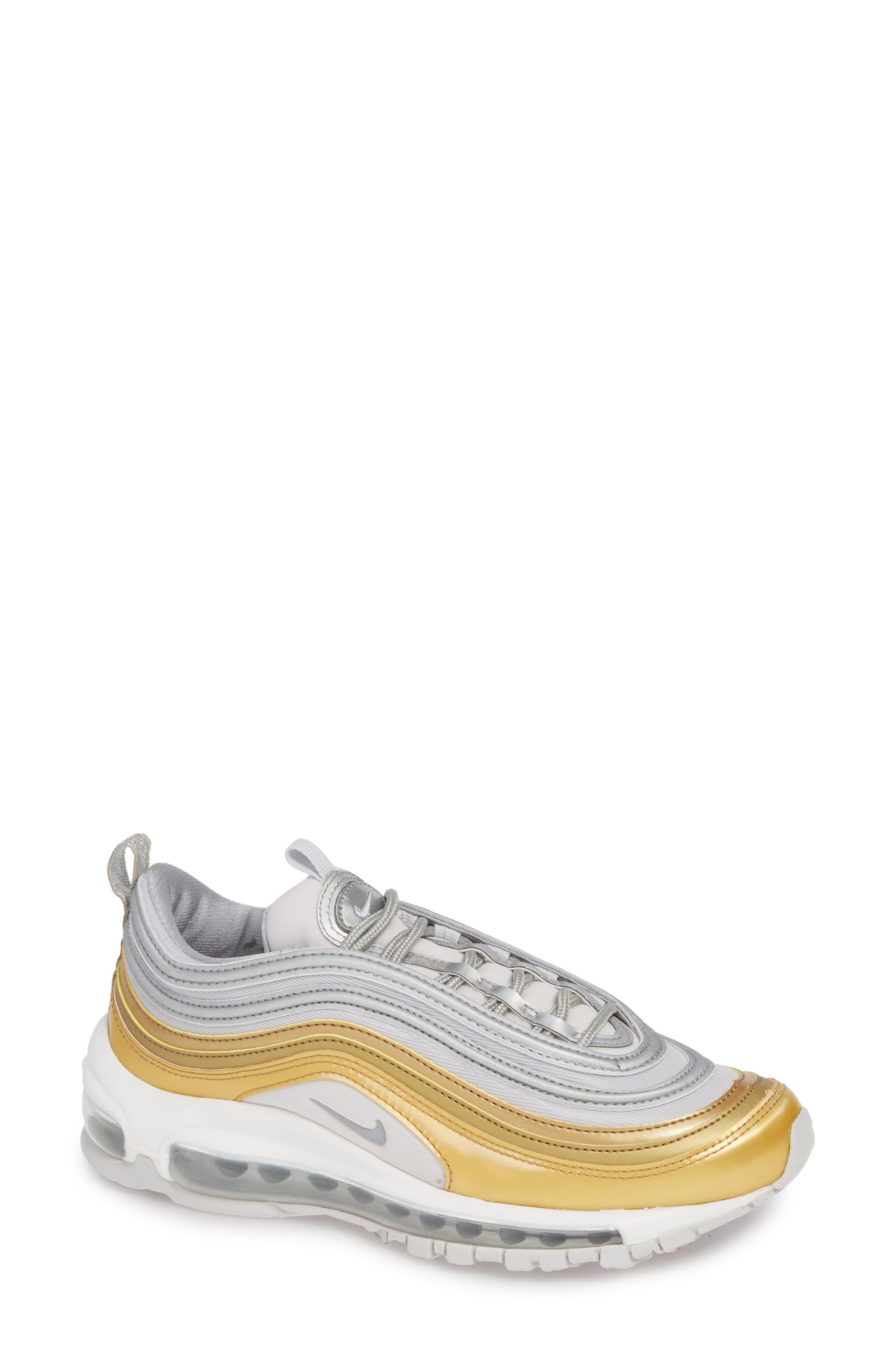 Air Max 97 SE Sneaker,                             Main thumbnail 1, color,                             GREY/ METALLIC SILVER- GOLD