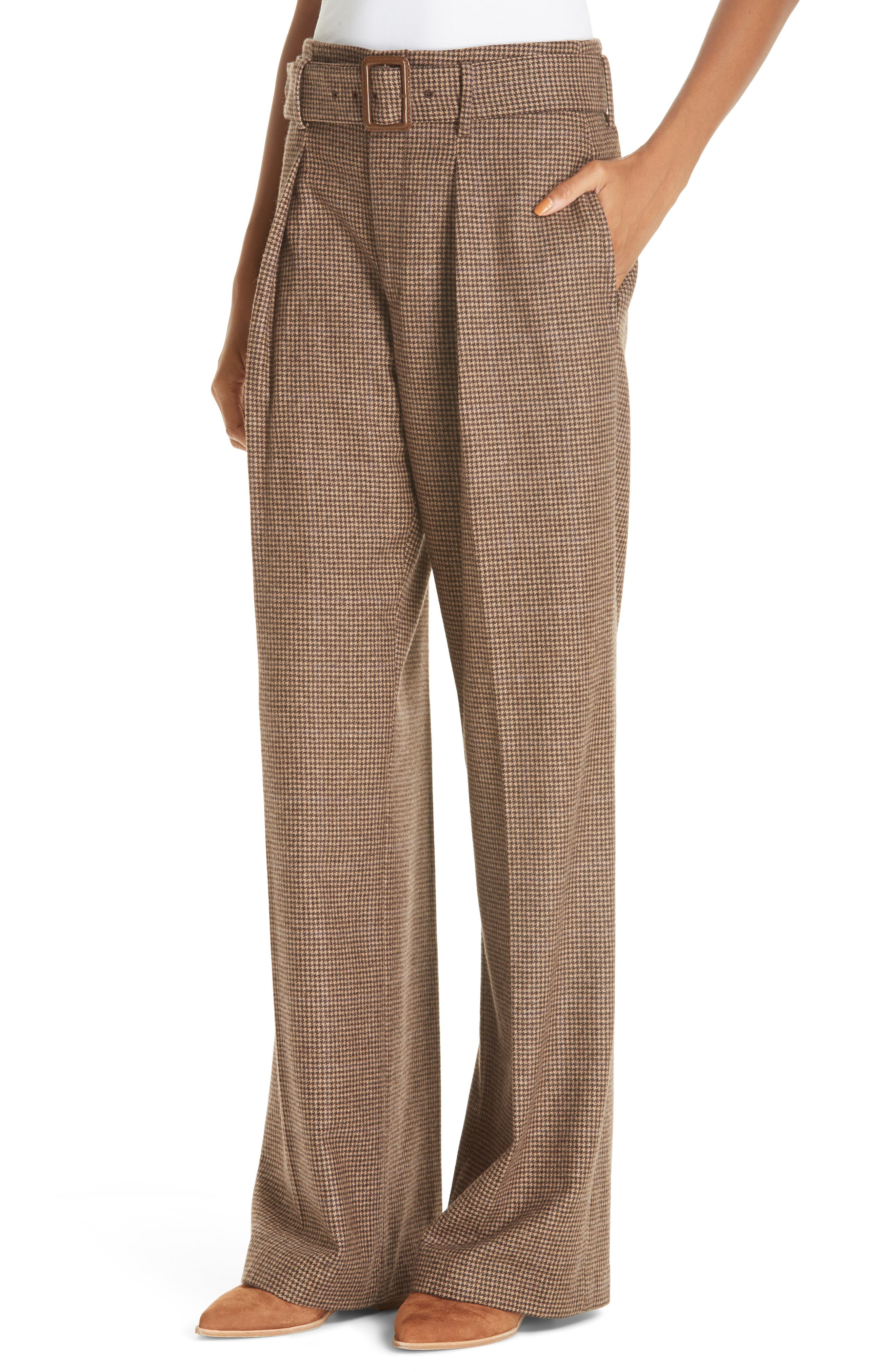 Relaxed Wide Leg Tweed Pants,                             Alternate thumbnail 4, color,                             200