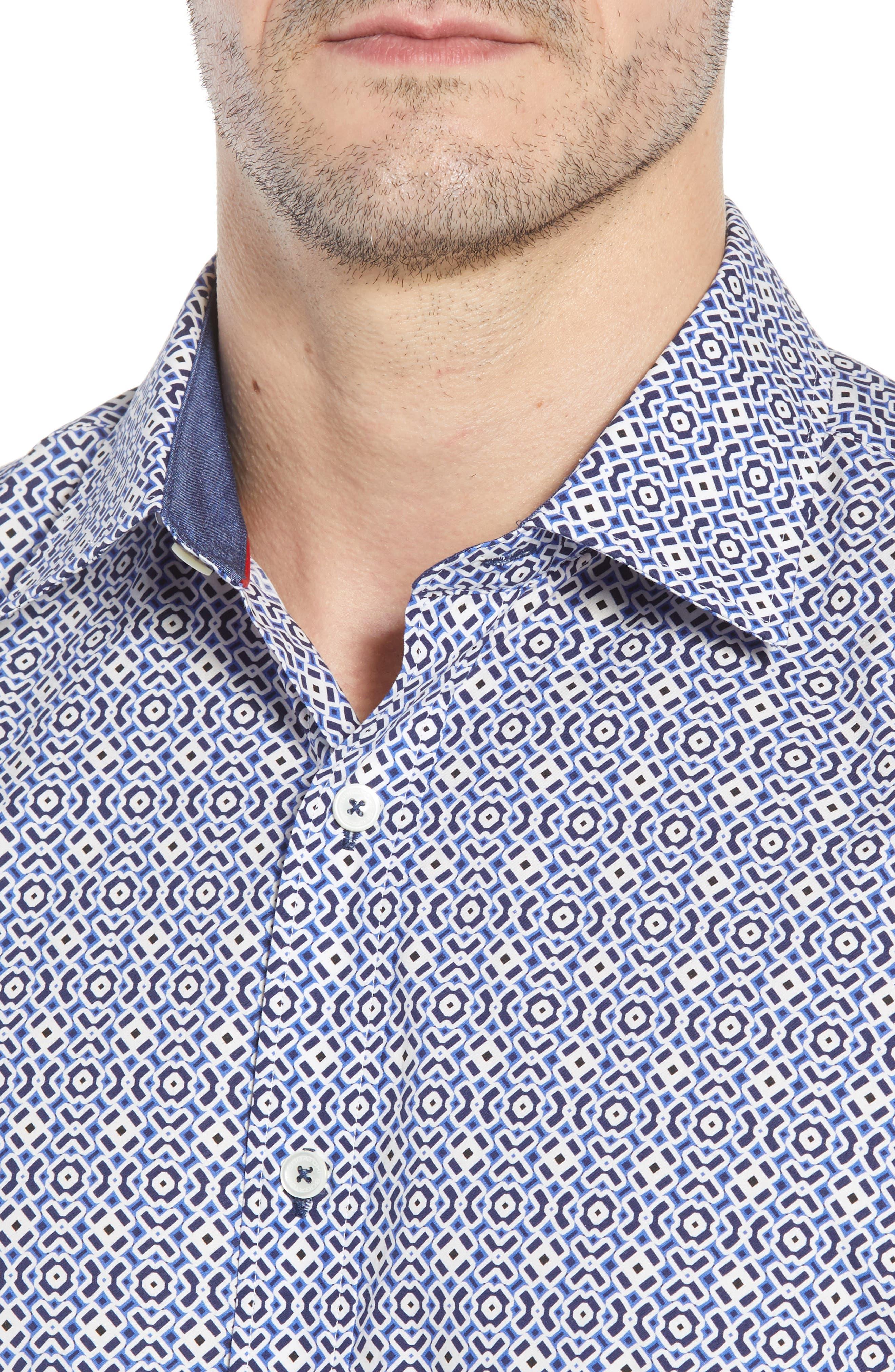Shaped Fit Print Sport Shirt,                             Alternate thumbnail 4, color,                             NAVY