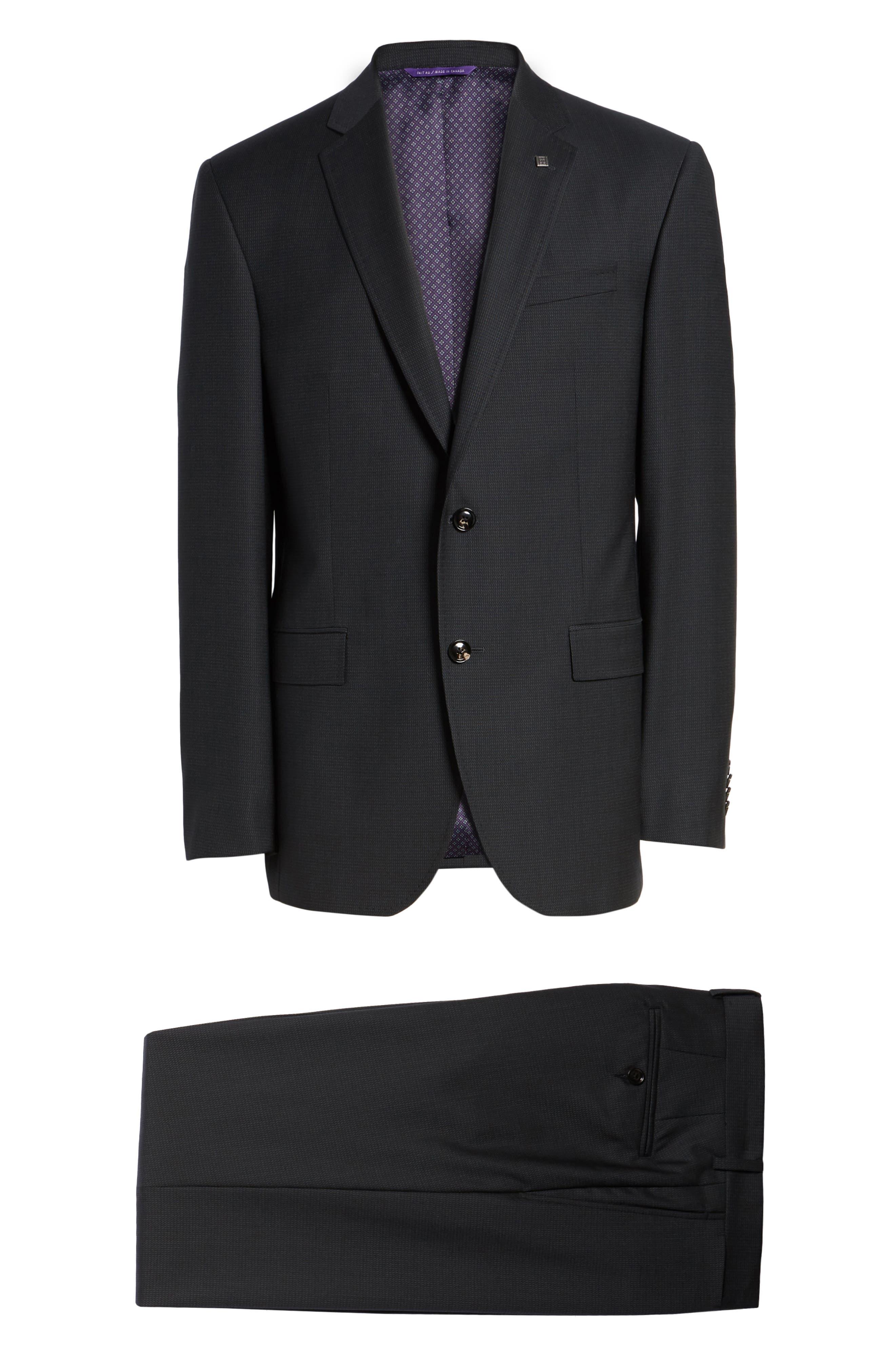 Jay Trim Fit Solid Wool Suit,                             Alternate thumbnail 8, color,                             001