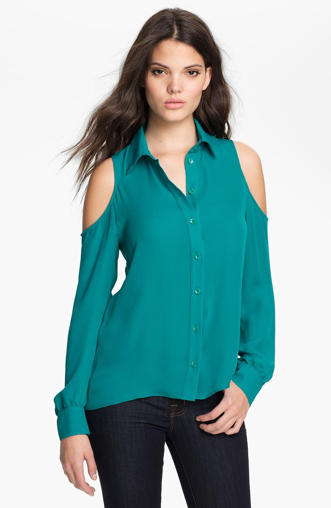 Cutout Silk Blouse,                         Main,                         color, 400