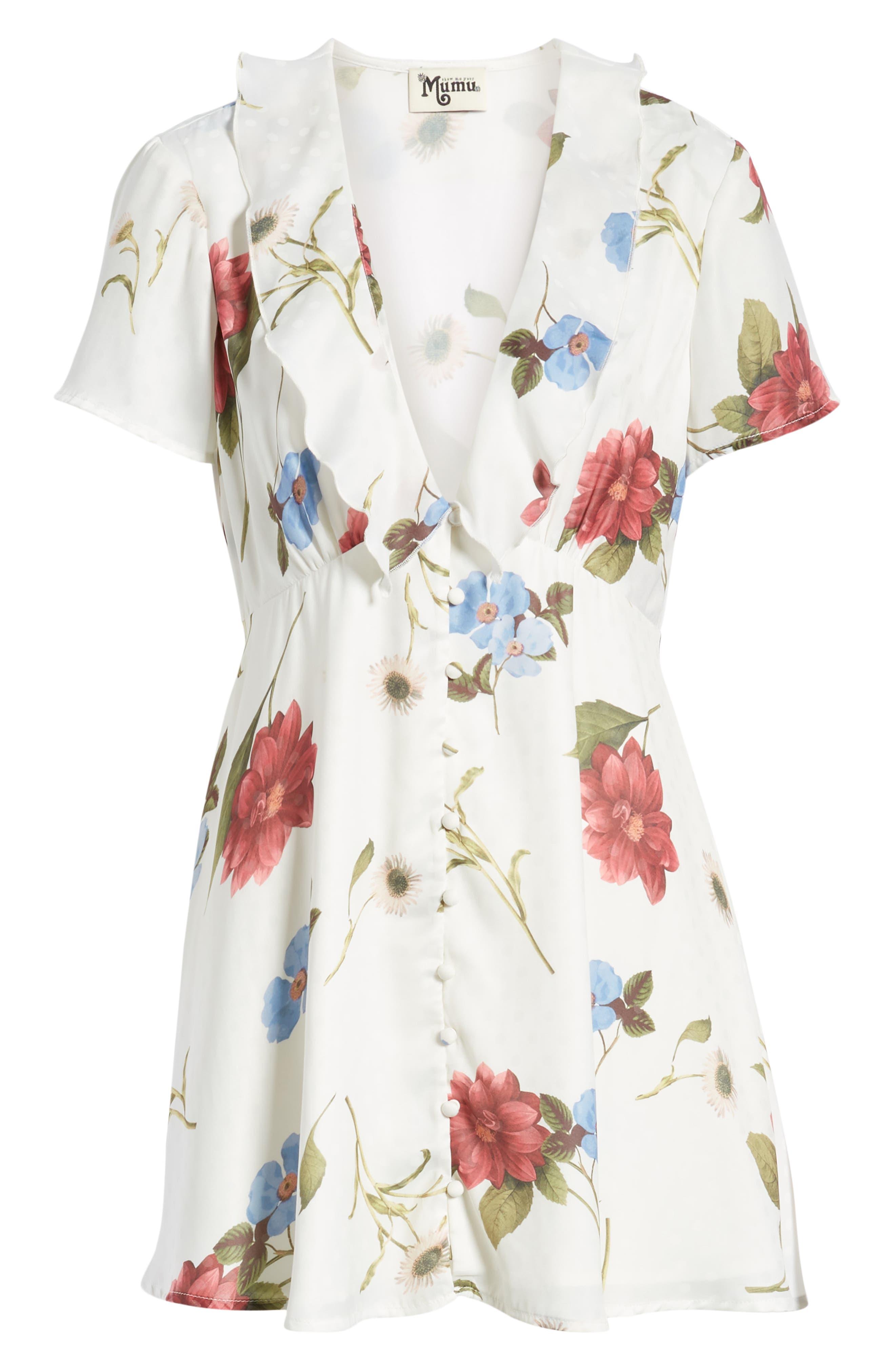 SHOW ME YOUR MUMU,                             Bernadette Babydoll Dress,                             Alternate thumbnail 7, color,                             FLORENCE FLORAL SILKY DOTS