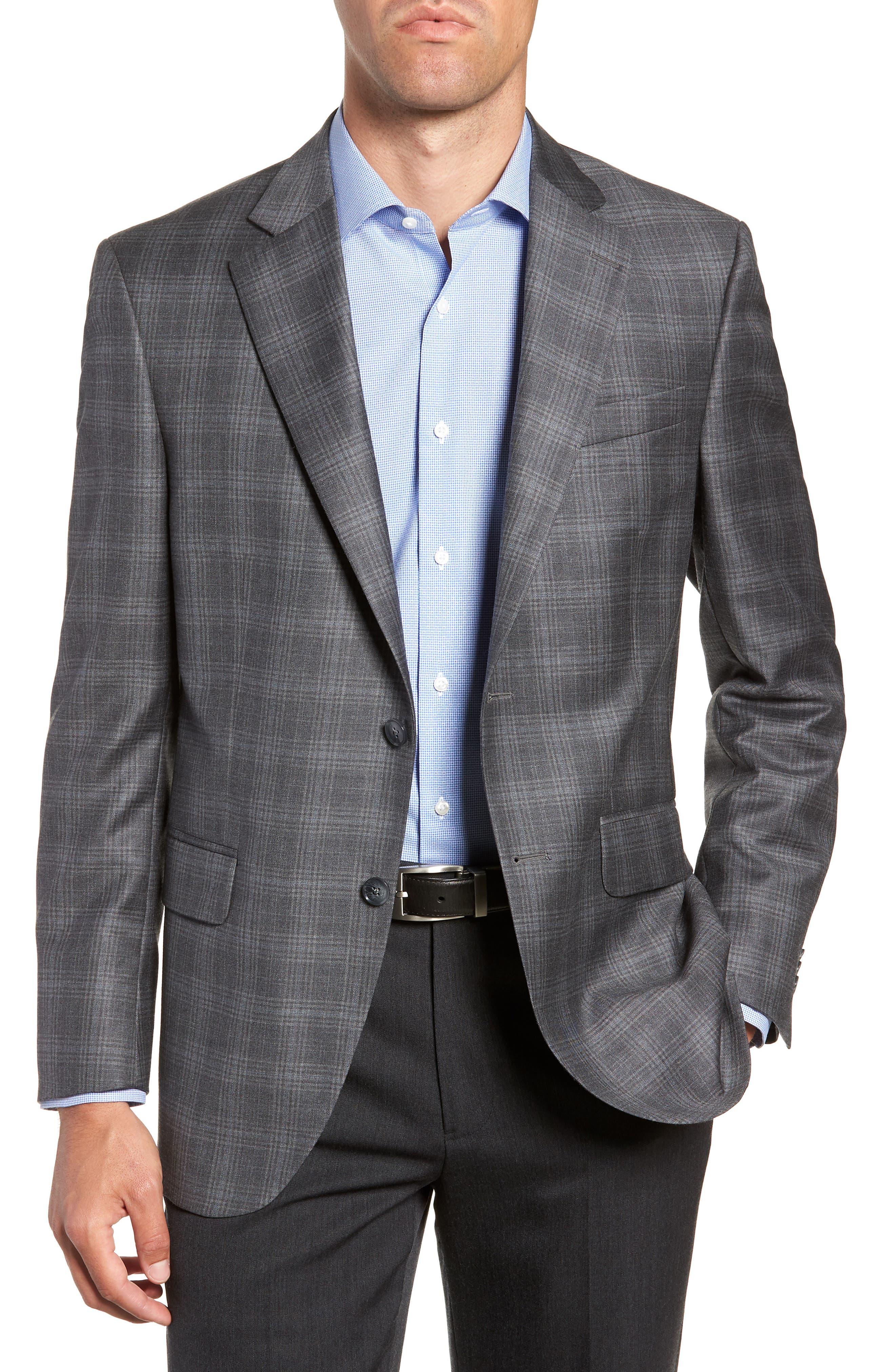 Flynn Classic Fit Plaid Wool Sport Coat,                             Main thumbnail 1, color,                             GREY