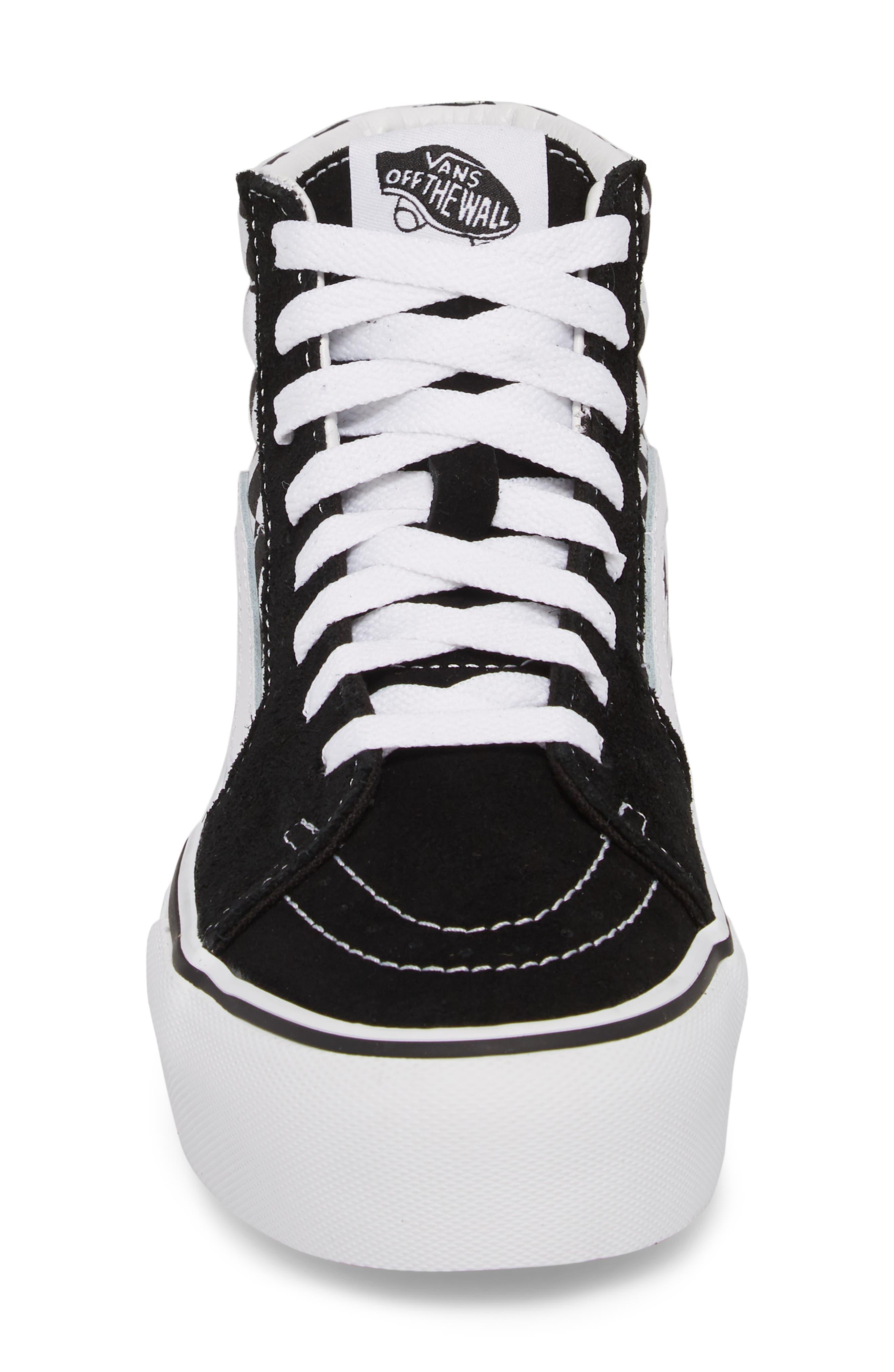 UA Sk8-Hi Platform Checkerboard Sneaker,                             Alternate thumbnail 4, color,                             CHECKER BOARD/ TRUE WHITE