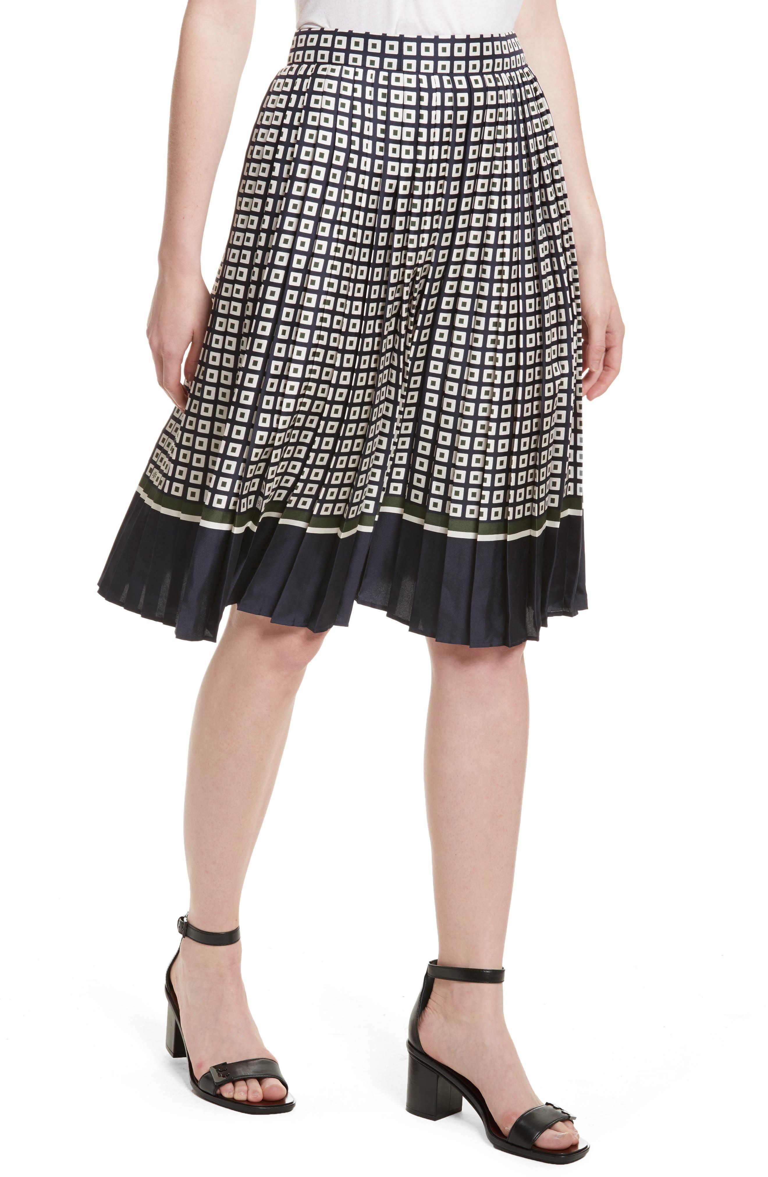Marea Pleated Silk Skirt,                             Alternate thumbnail 4, color,                             955