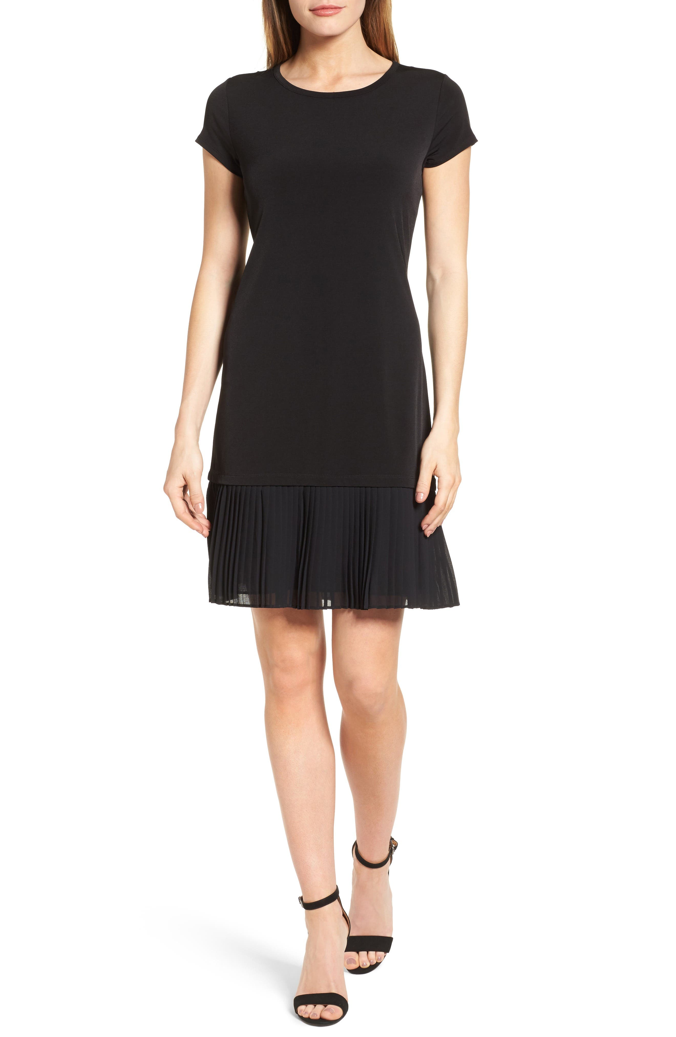 Pleat Chiffon Hem Jersey Dress,                             Main thumbnail 1, color,                             001