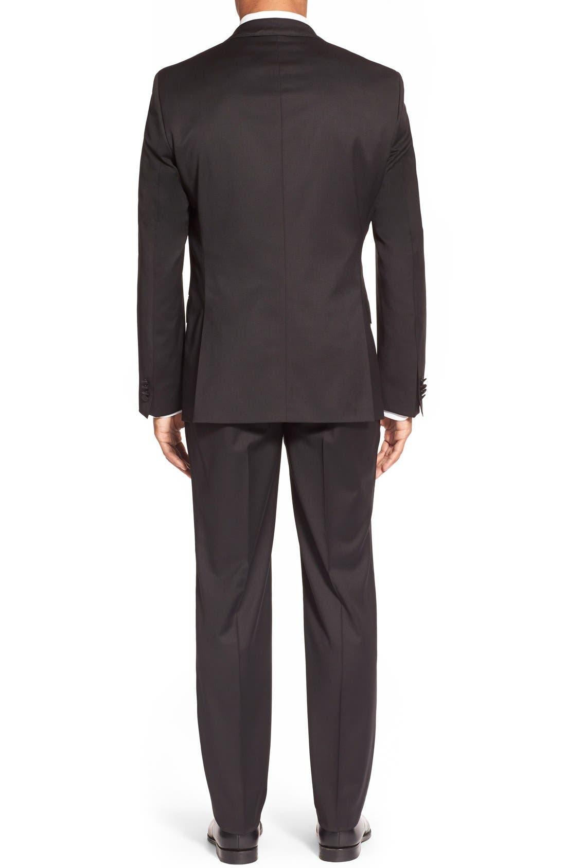 Trim Fit Wool Tuxedo,                             Alternate thumbnail 3, color,                             BLACK