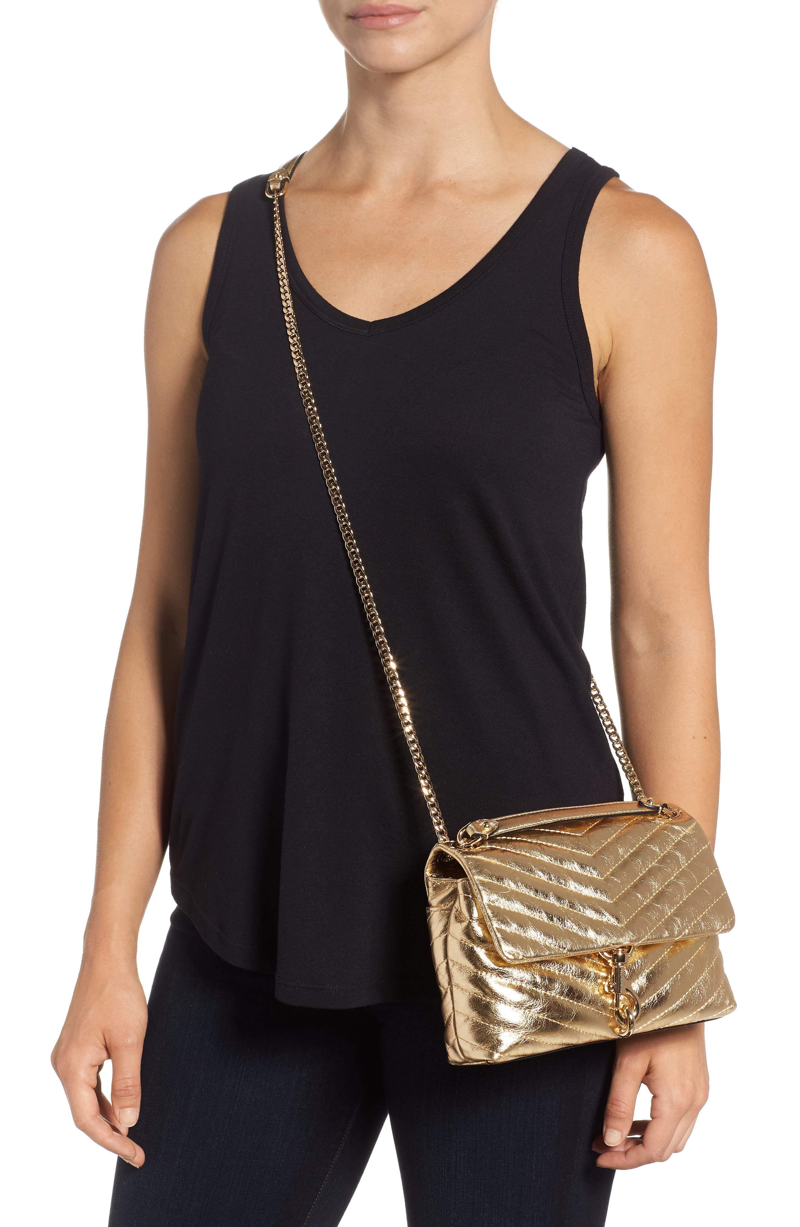 Edie Metallic Leather Shoulder Bag,                             Alternate thumbnail 2, color,                             GOLD