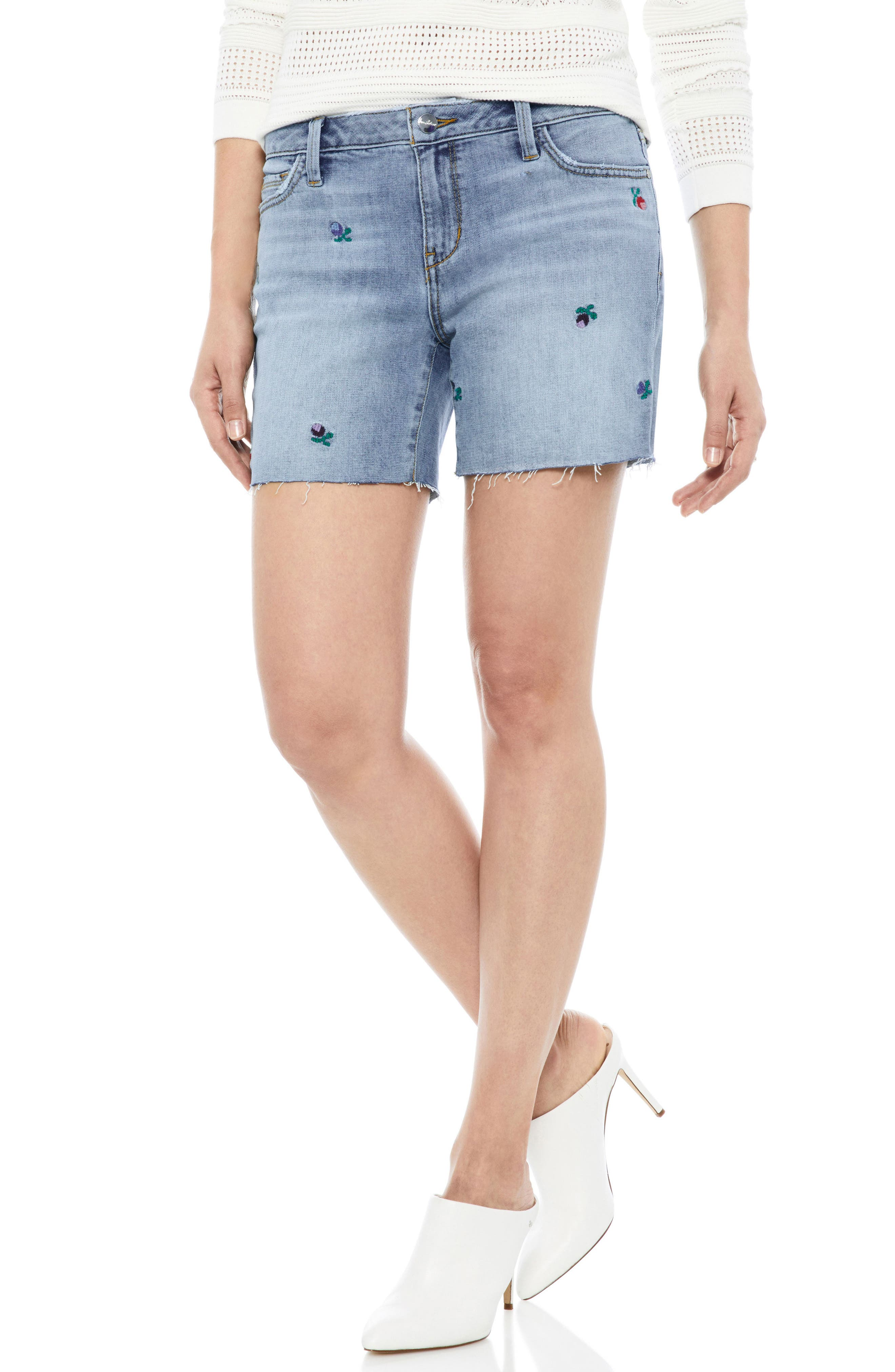 The Derby Embroidered Denim Bermuda Shorts,                             Main thumbnail 1, color,                             FANNIE