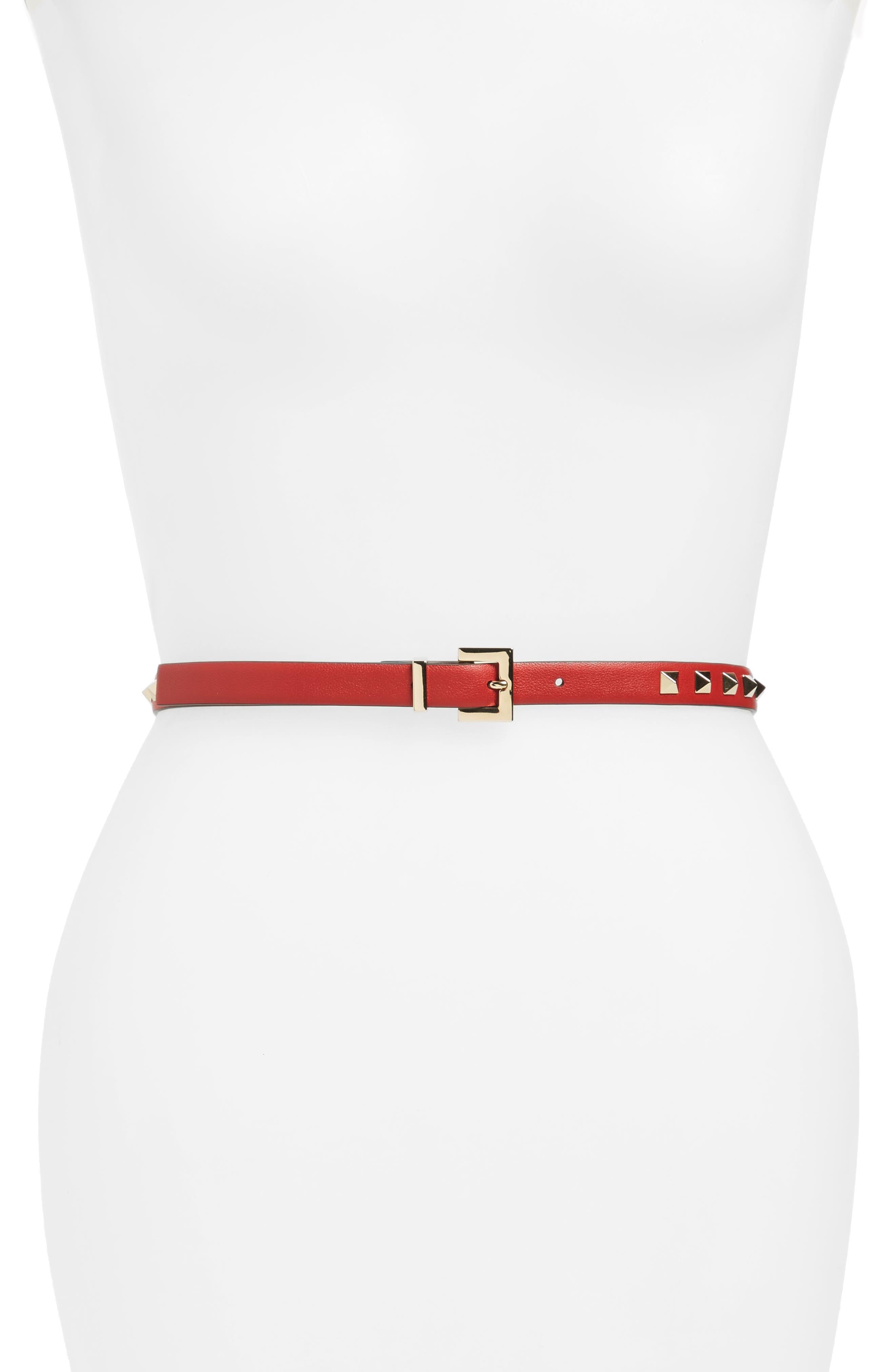 Rockstud Calfskin Leather Belt,                         Main,                         color, RED