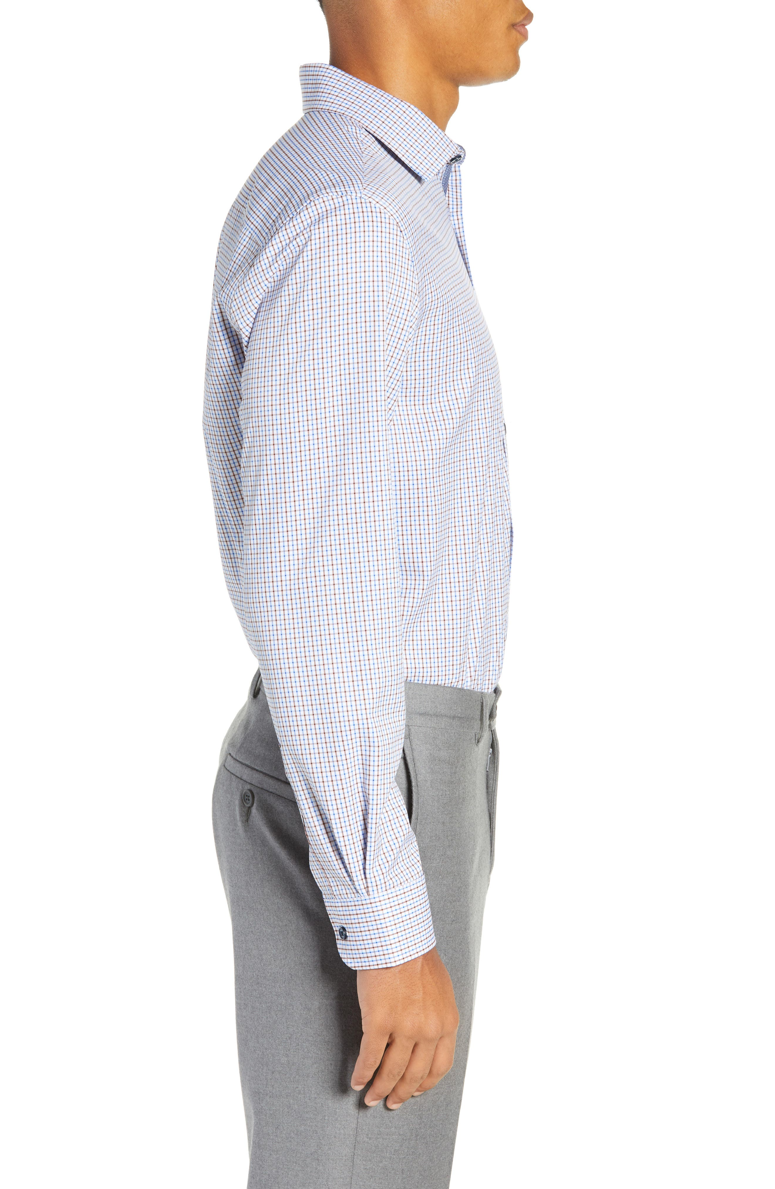 Trim Fit 4-Way Stretch Check Dress Shirt,                             Alternate thumbnail 4, color,                             BLUE