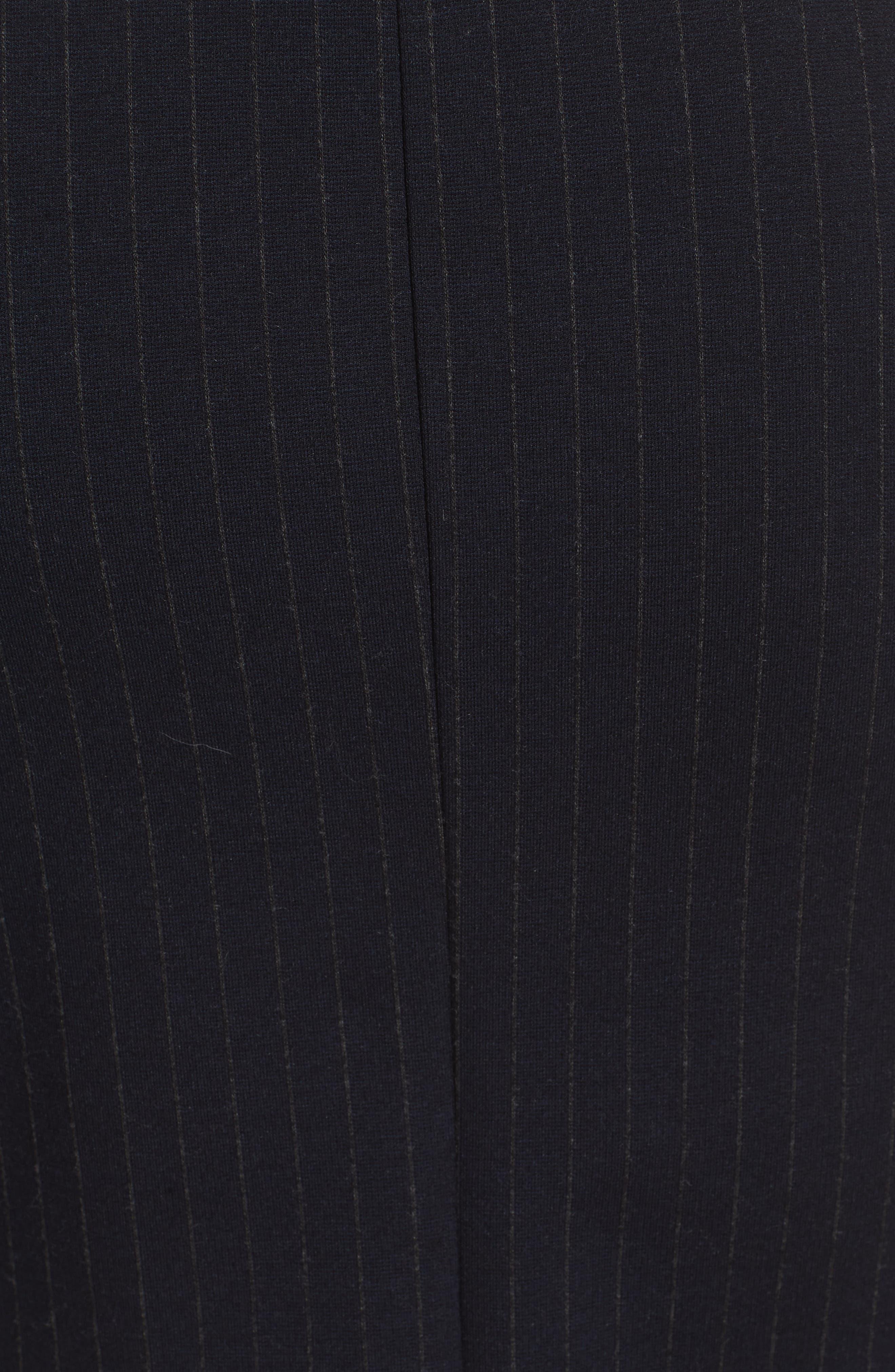 Pinstripe A-Line Dress,                             Alternate thumbnail 5, color,                             DEEP NAVY