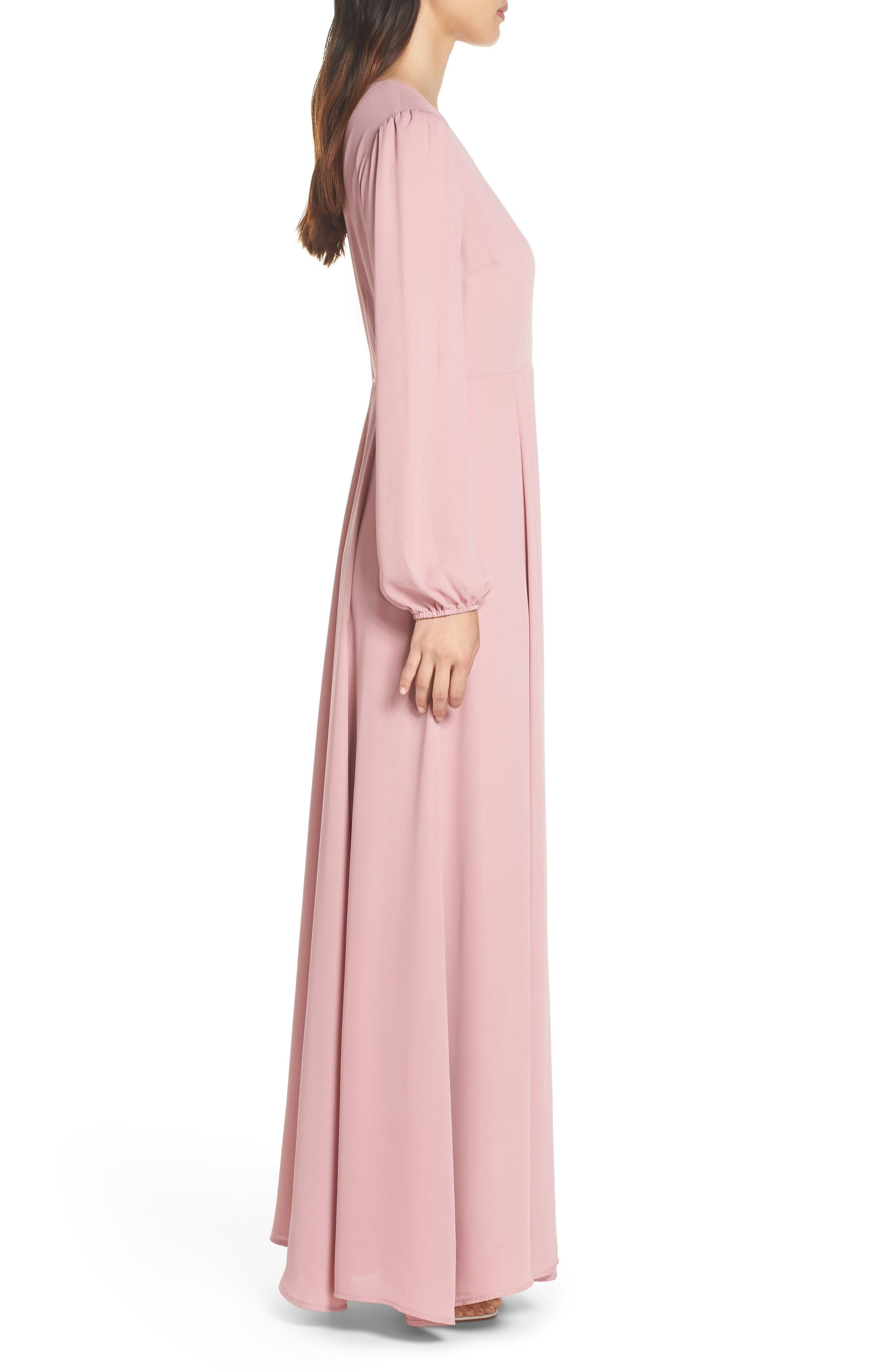 Lila Long Sleeve Wrap Gown,                             Alternate thumbnail 3, color,                             DESERT ROSE