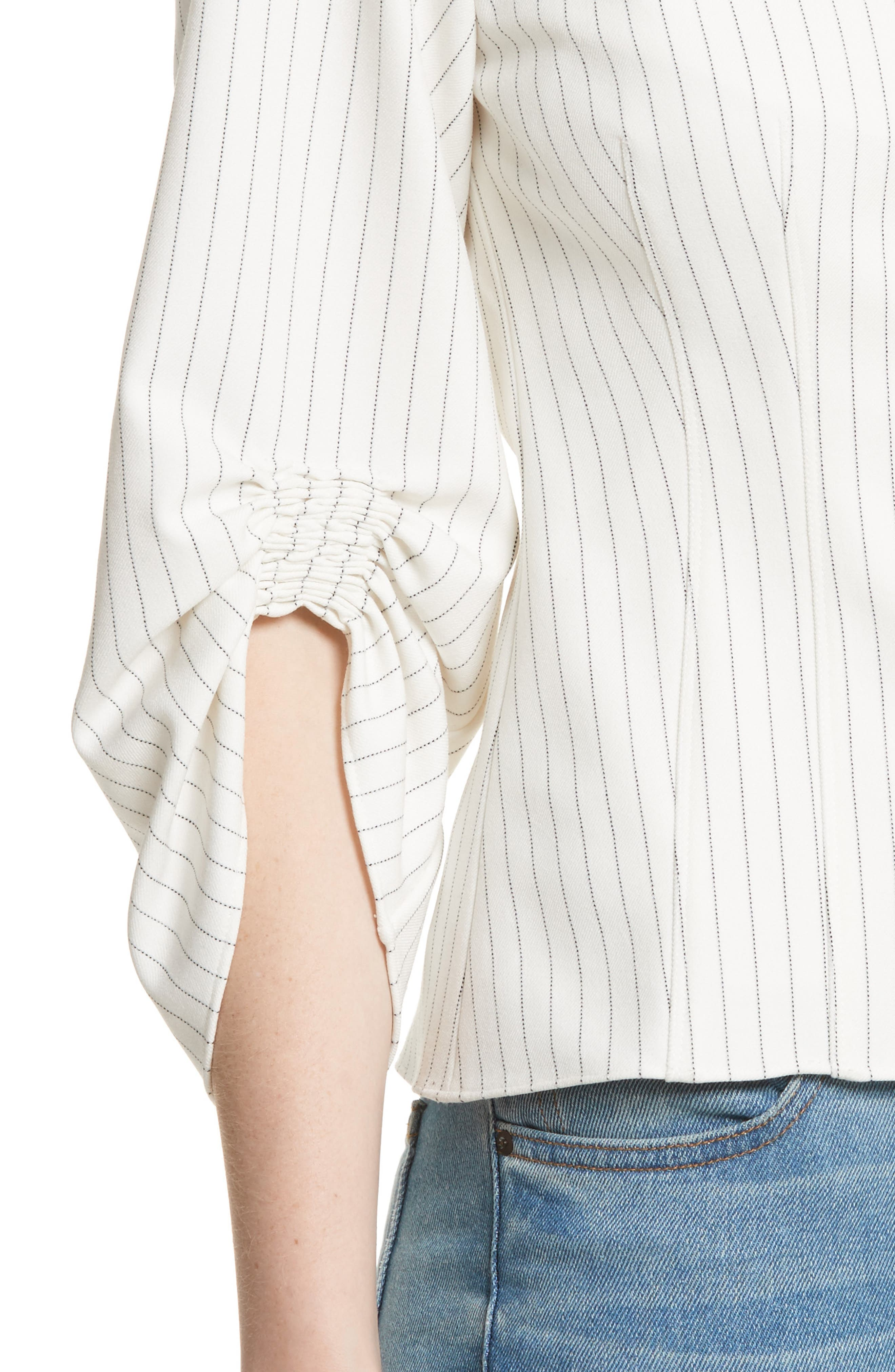 Corset Ruched Sleeve Top,                             Alternate thumbnail 4, color,                             907