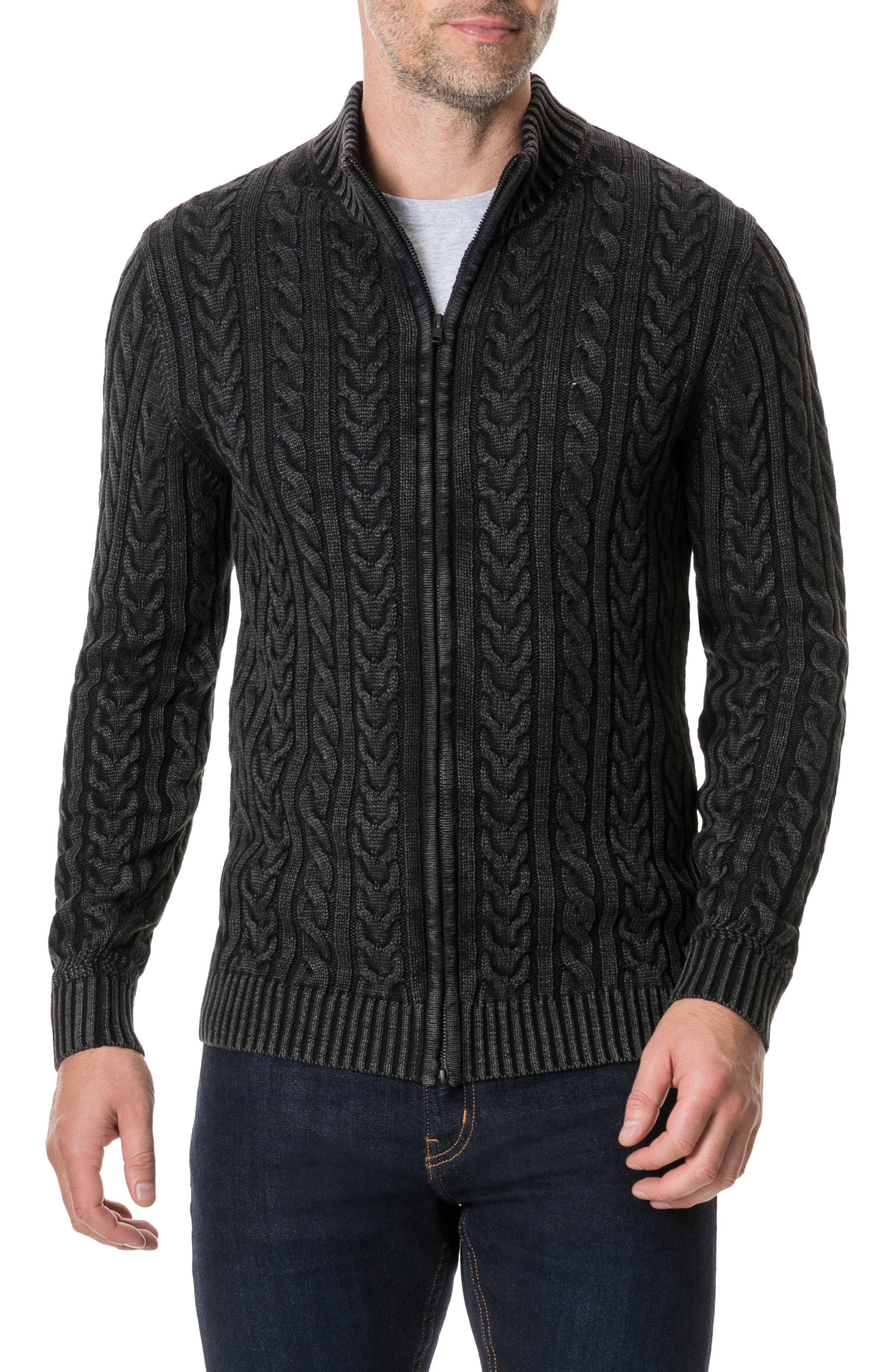 Northope Cable Zip Cardigan,                             Main thumbnail 1, color,                             CHARCOAL