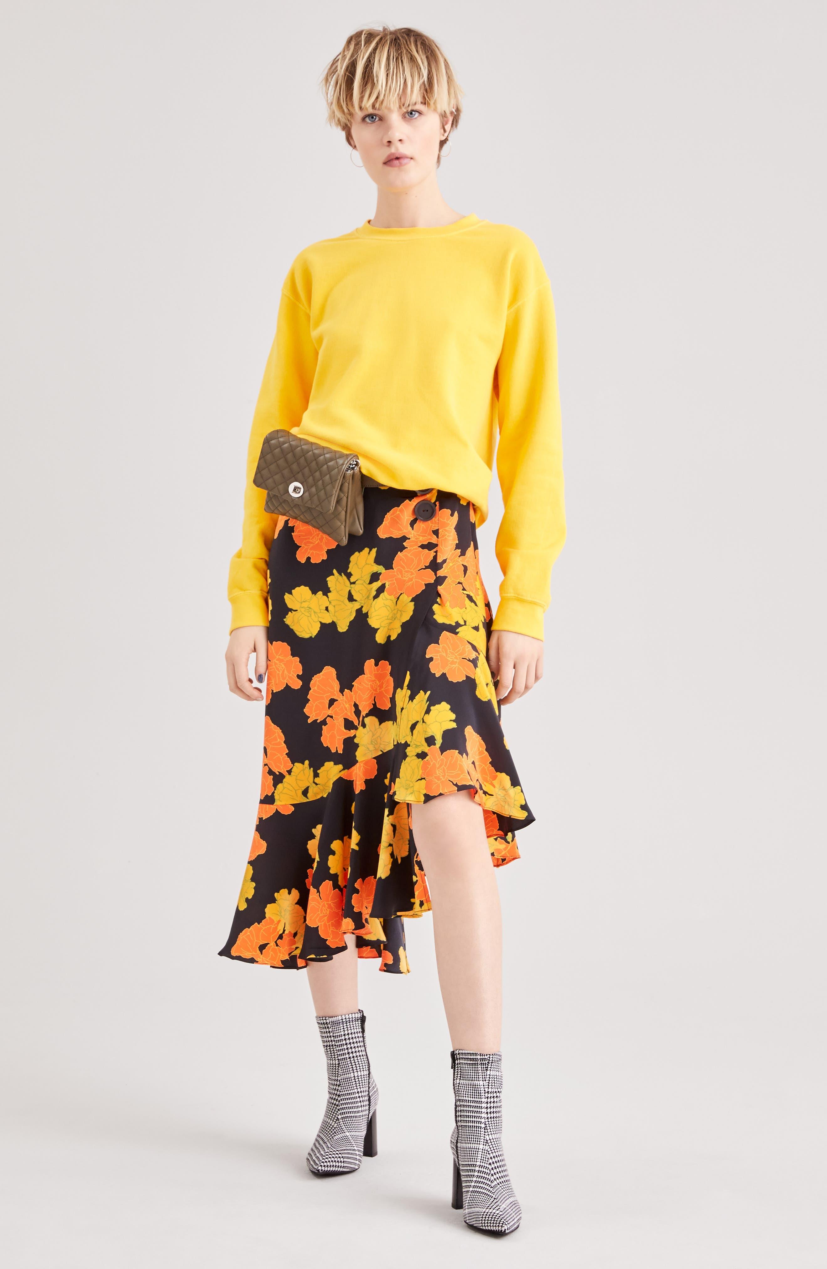TOPSHOP,                             Printed Midi Skirt,                             Alternate thumbnail 5, color,                             001