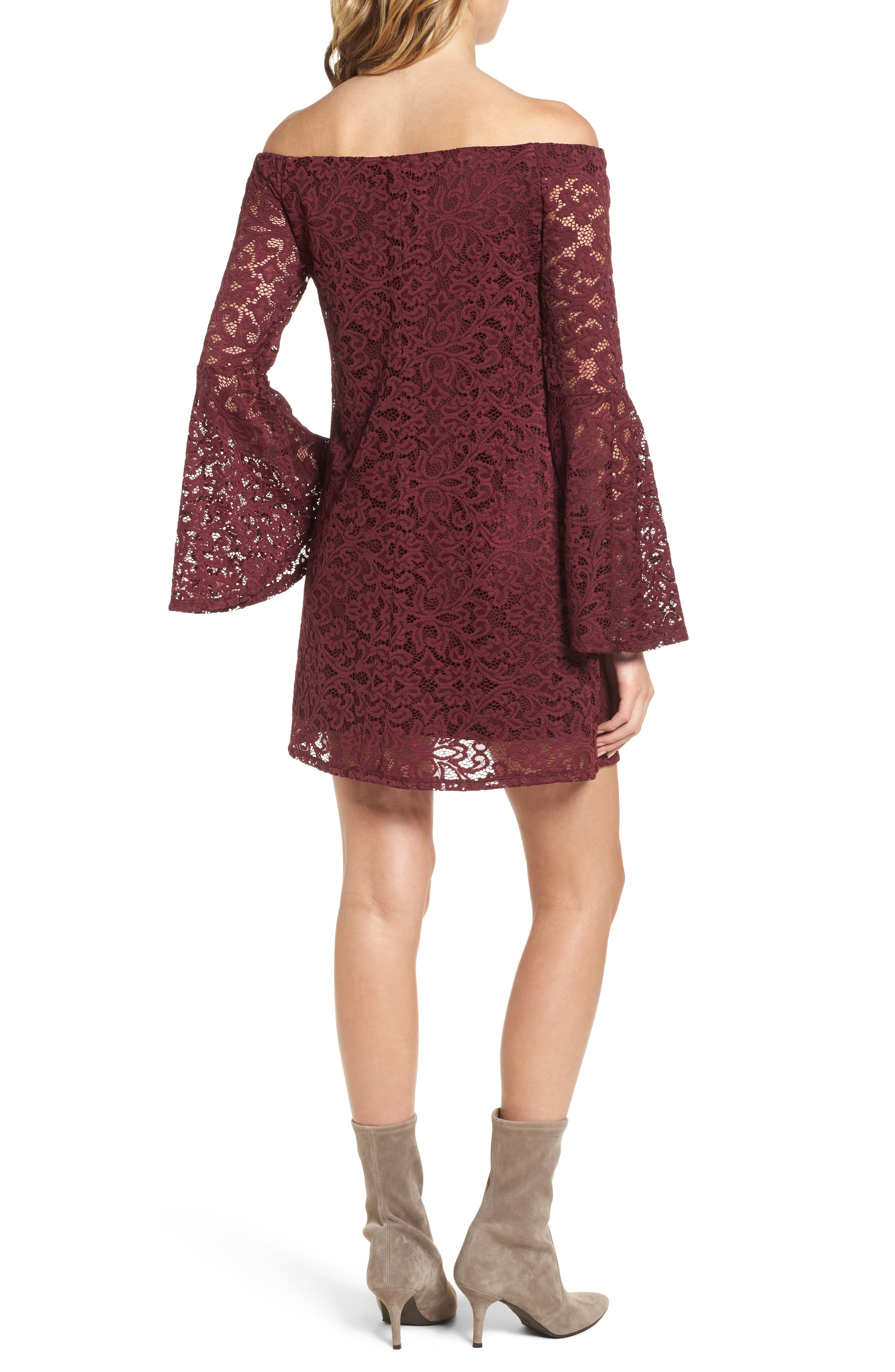 Lace Bell Sleeve Off the Shoulder Dress,                             Alternate thumbnail 2, color,                             930