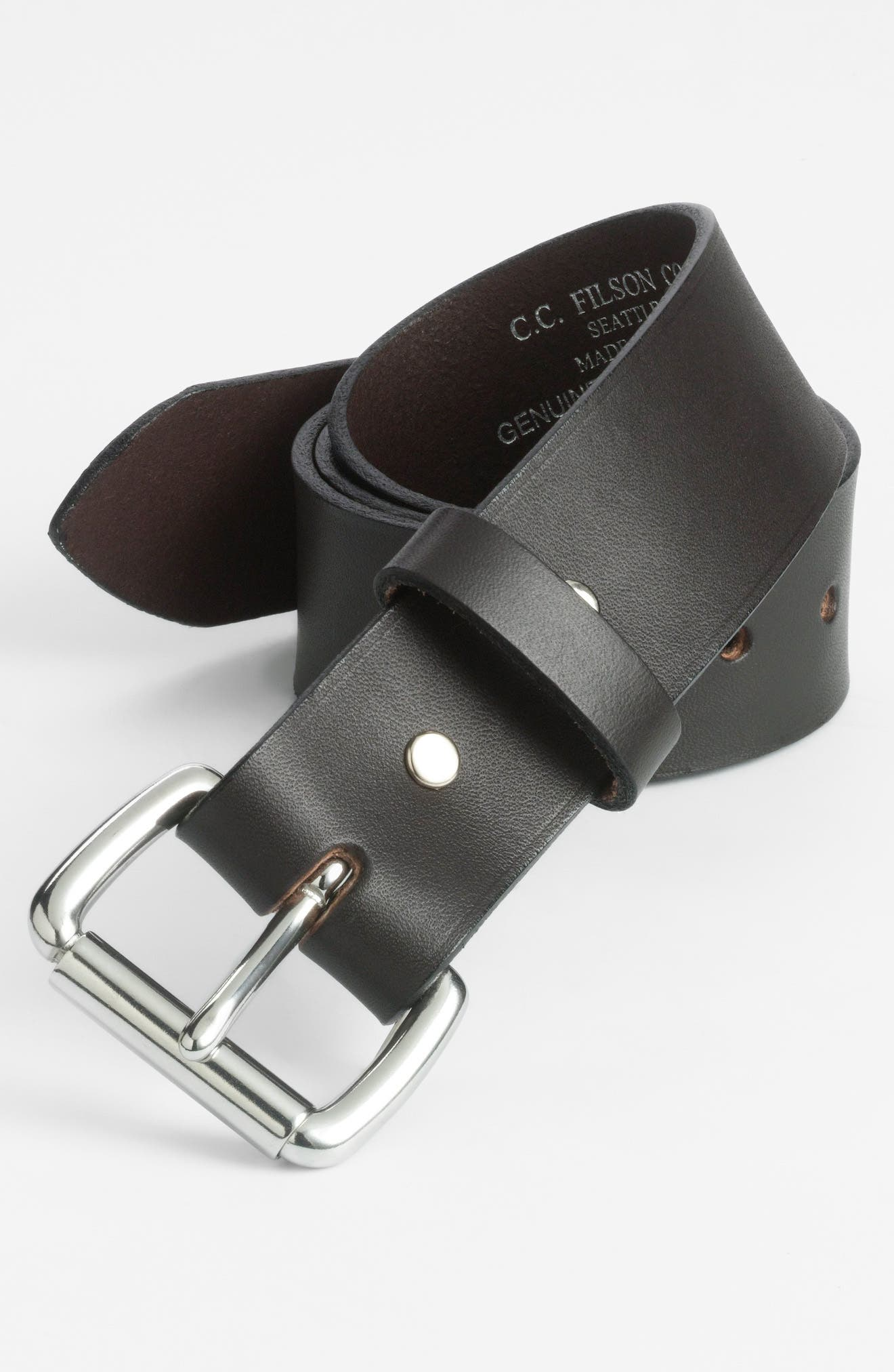 Leather Belt,                         Main,                         color, BROWN/STAINLESS STEEL