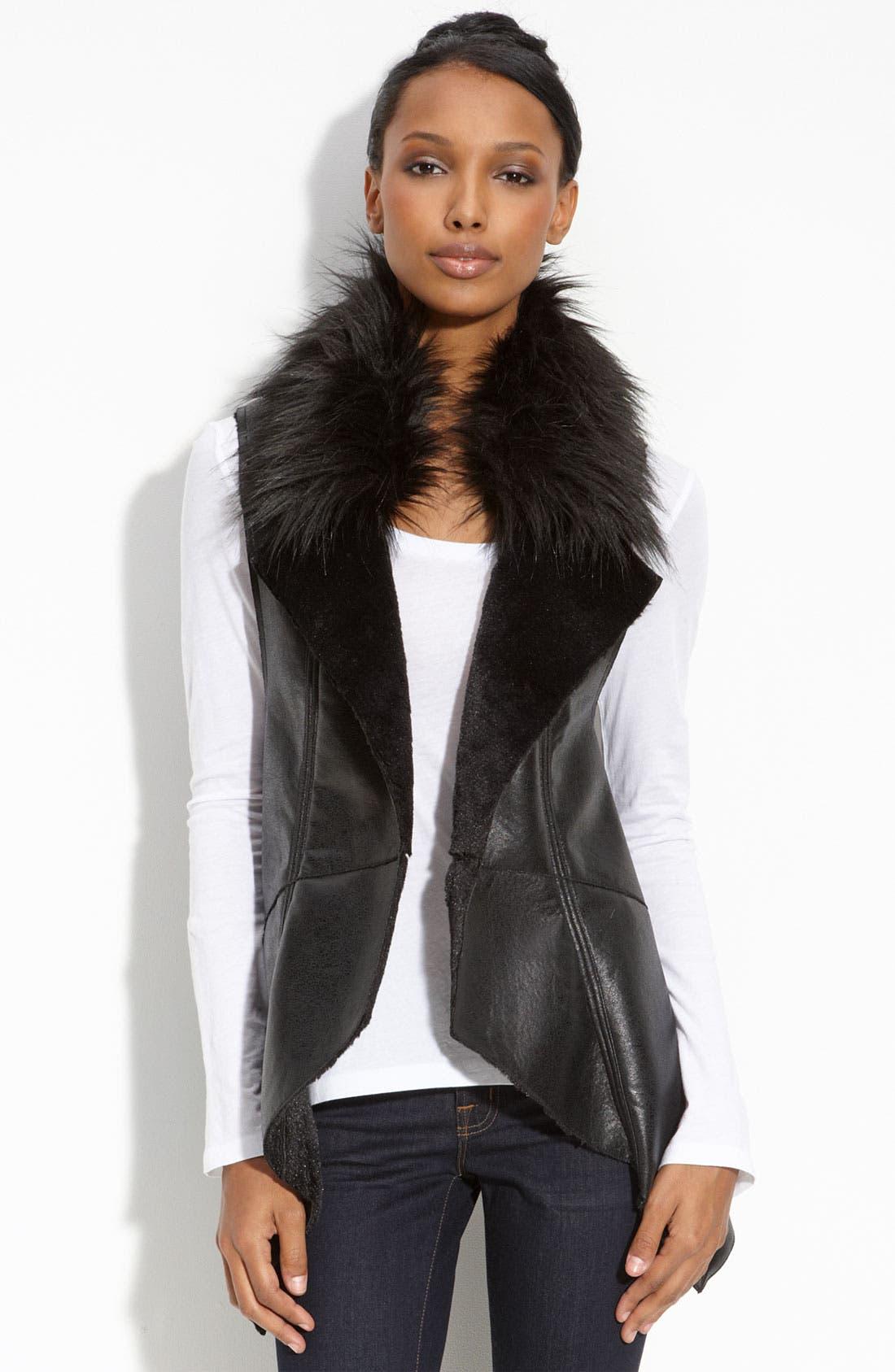 BAGATELLE,                             Faux Fur Trim Open Vest,                             Main thumbnail 1, color,                             001