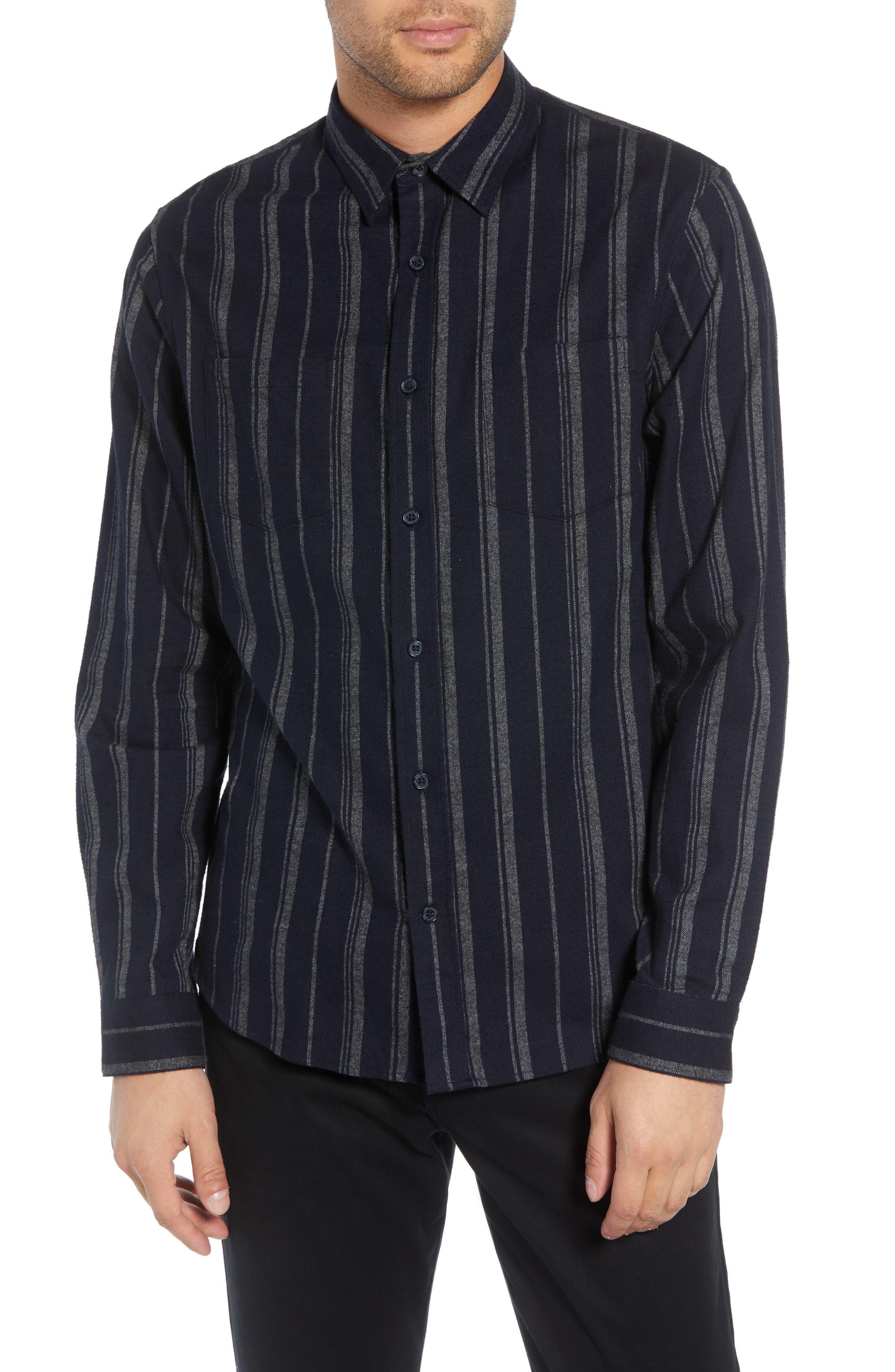 Stripe Flannel Shirt,                         Main,                         color, COASTAL