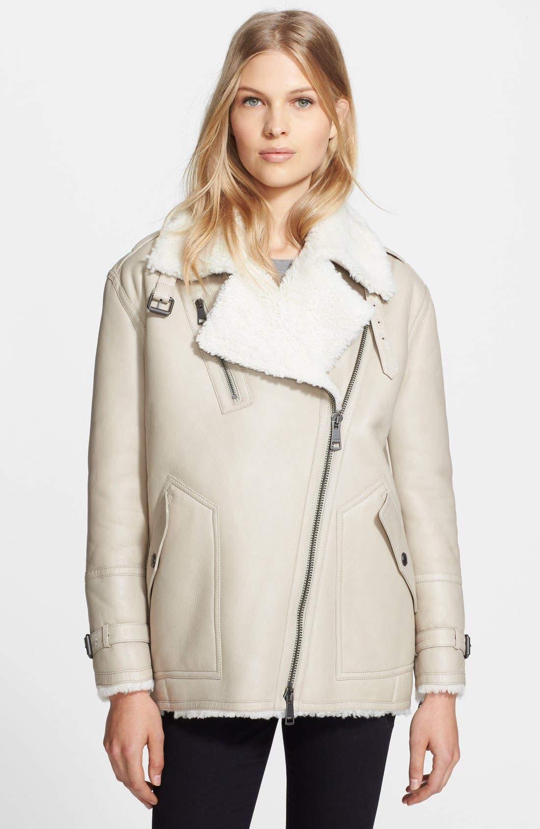 'Sheppington' Genuine Shearling Moto Jacket, Main, color, 103