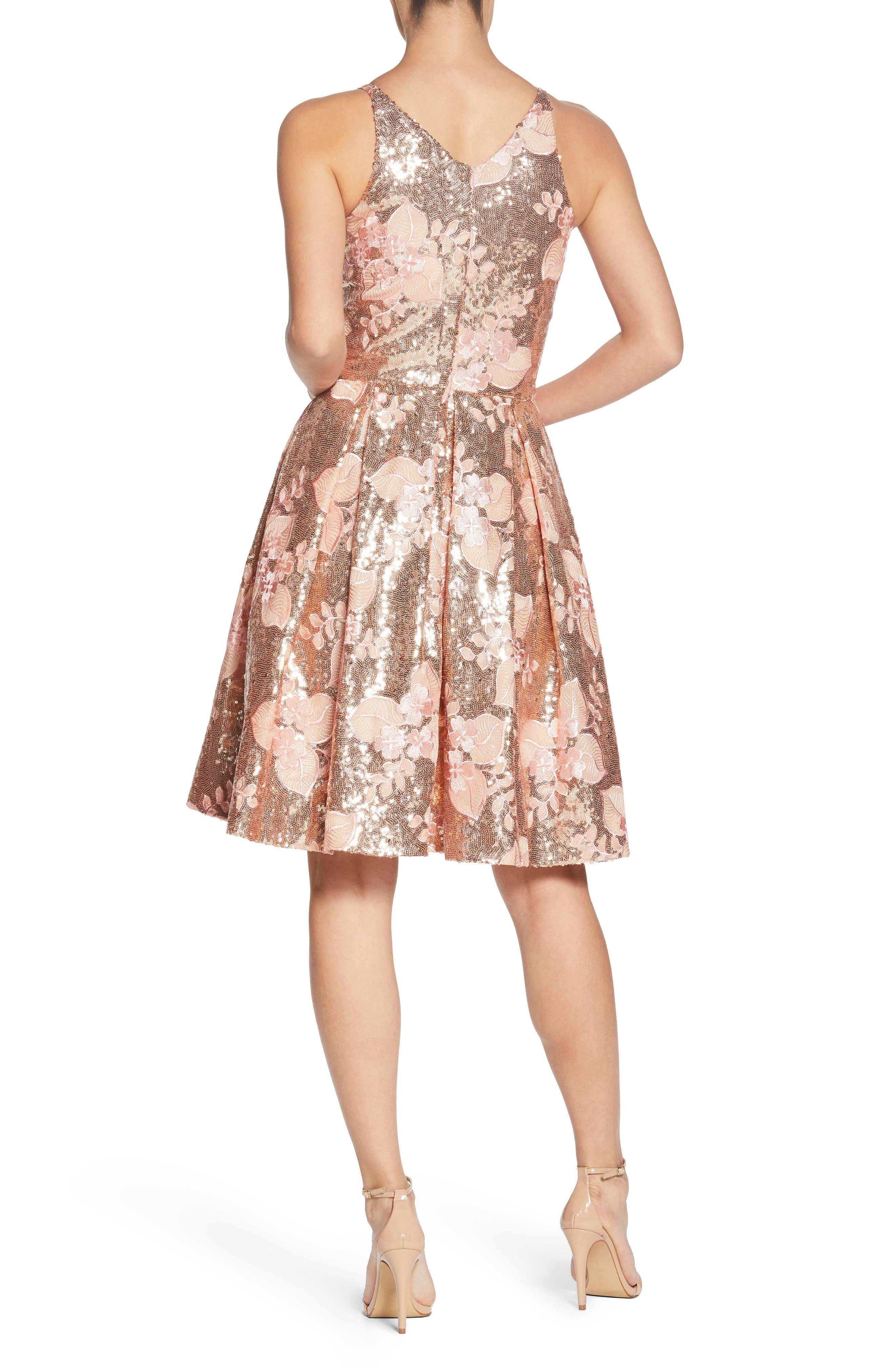 Collette Sequin Fit & Flare Dress,                             Alternate thumbnail 2, color,                             PINK/ GOLD