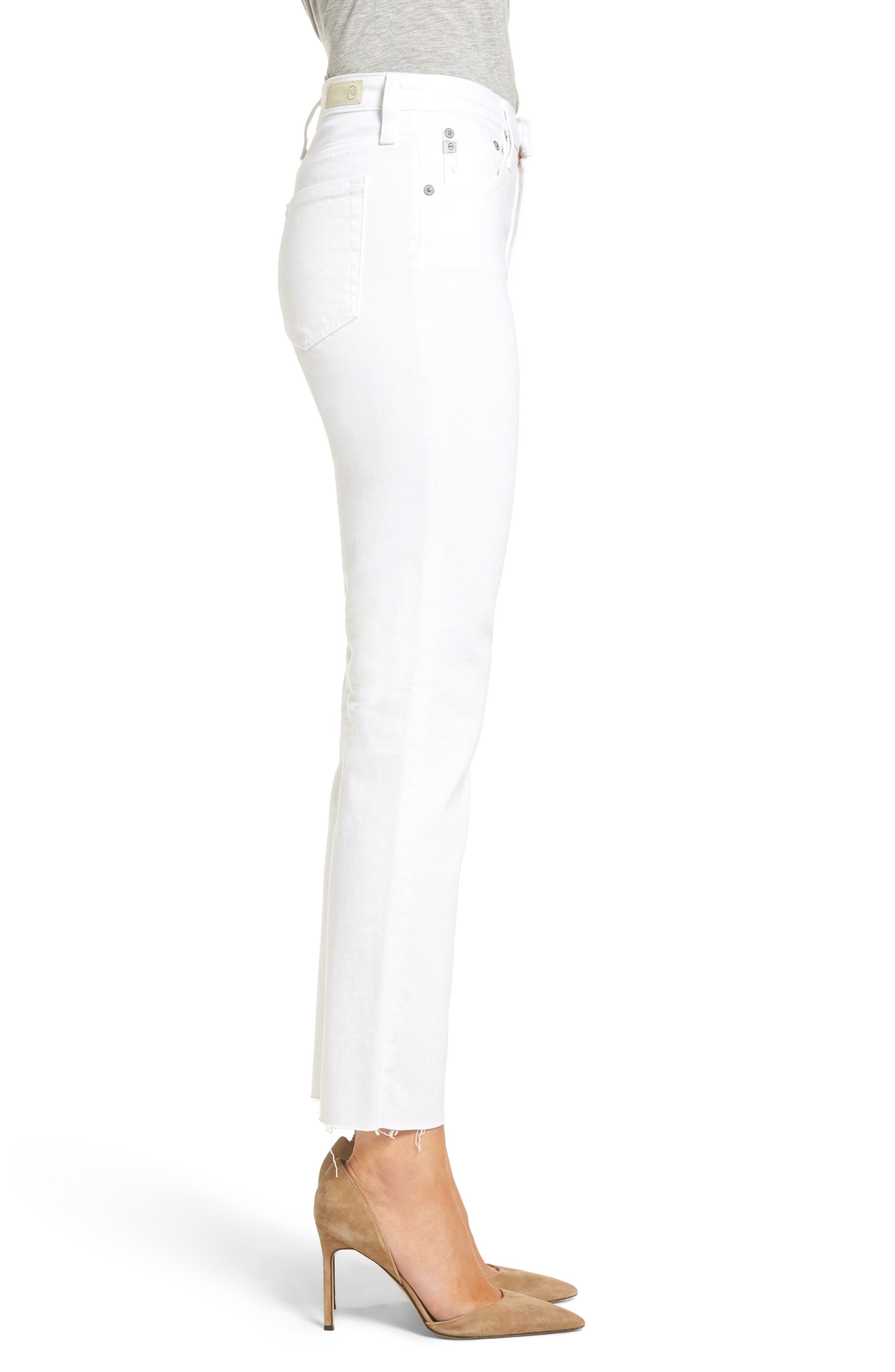 The Isabelle High Waist Crop Straight Leg Jeans,                             Alternate thumbnail 3, color,                             01 YEARS - WHITE