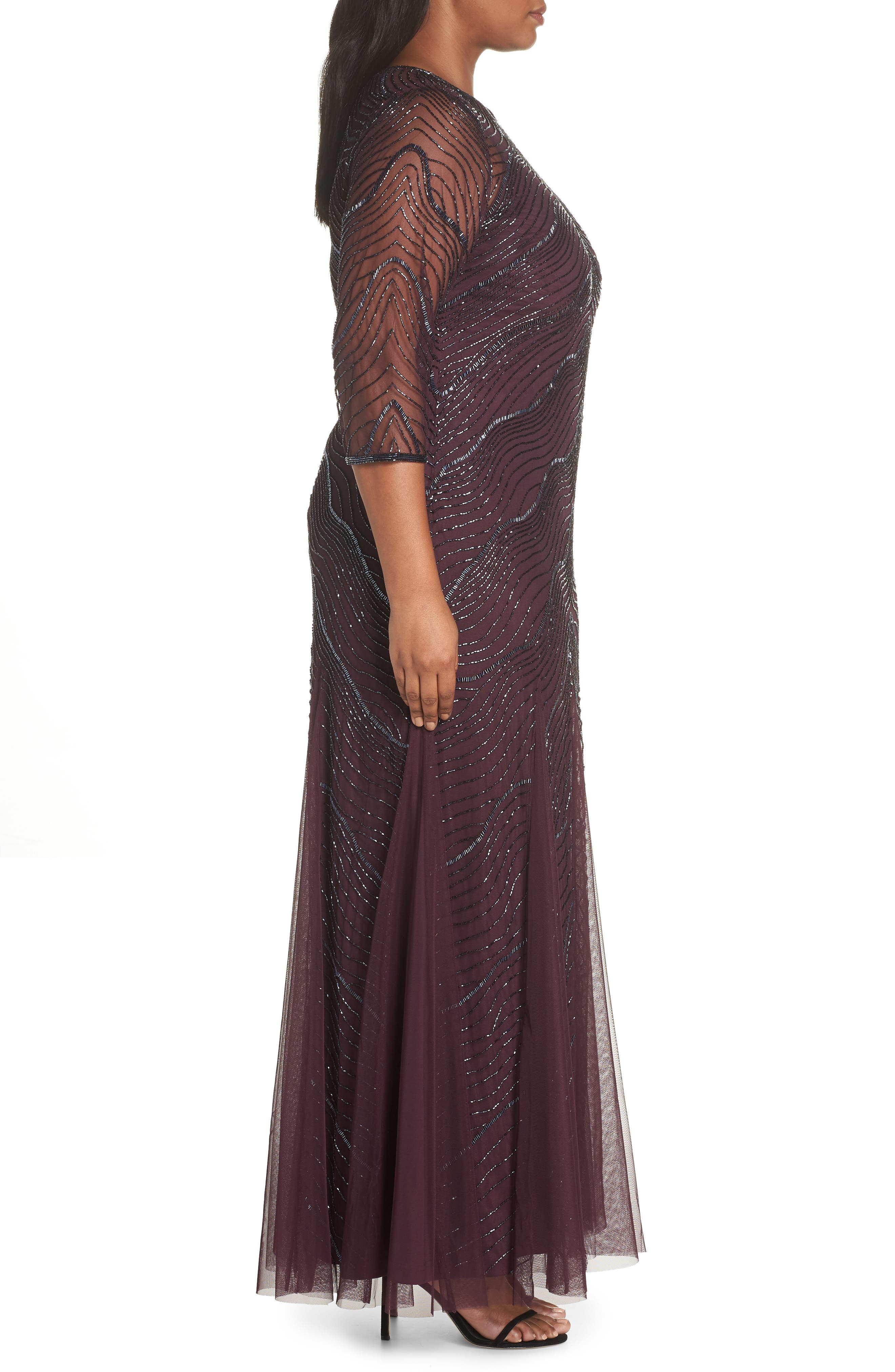 Deco Beaded Godet Gown,                             Alternate thumbnail 3, color,                             500