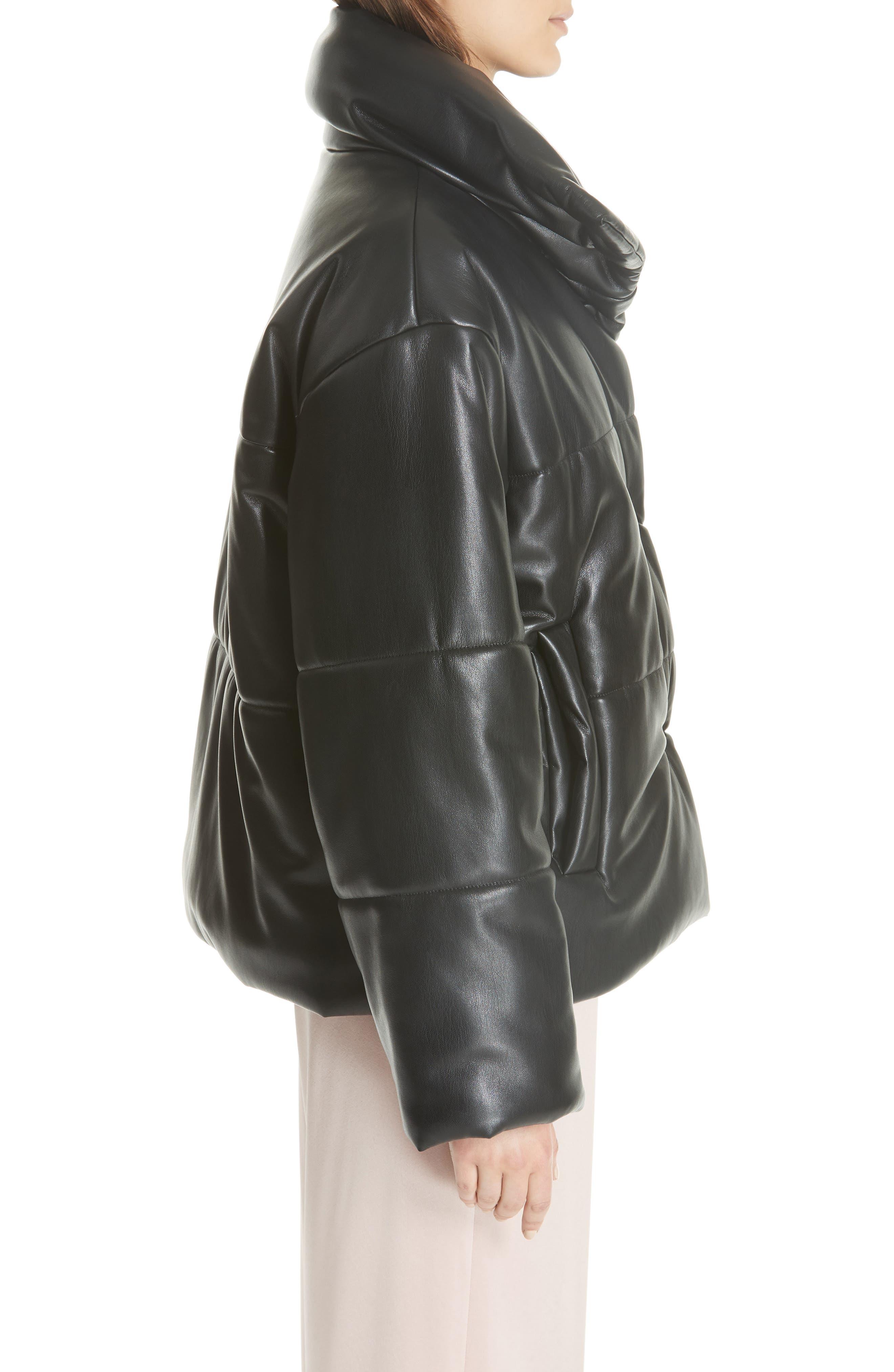 Hide Faux Leather Puffer Jacket,                             Alternate thumbnail 3, color,                             BLACK