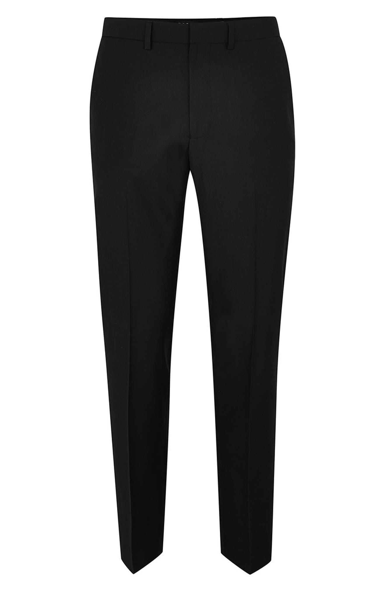 Slim Fit Suit Trousers,                             Alternate thumbnail 4, color,                             BLACK