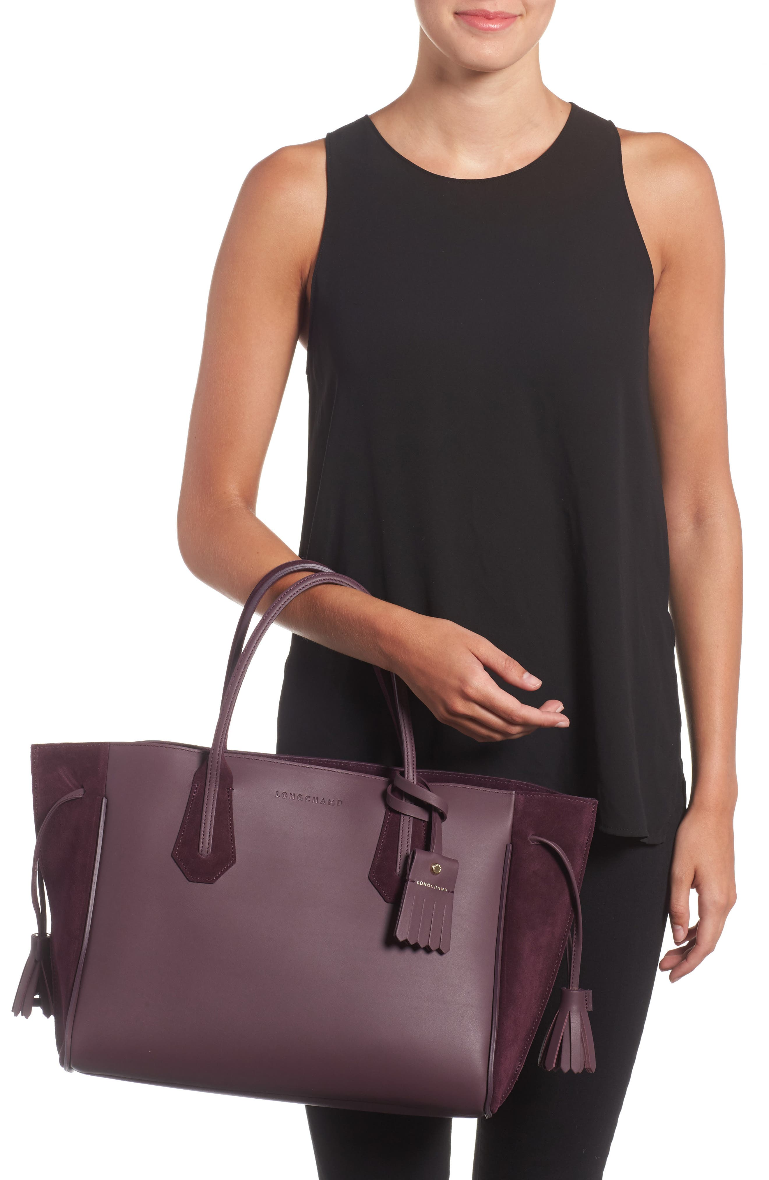 Penelope Leather & Suede Top Handle Tote,                             Alternate thumbnail 2, color,                             500